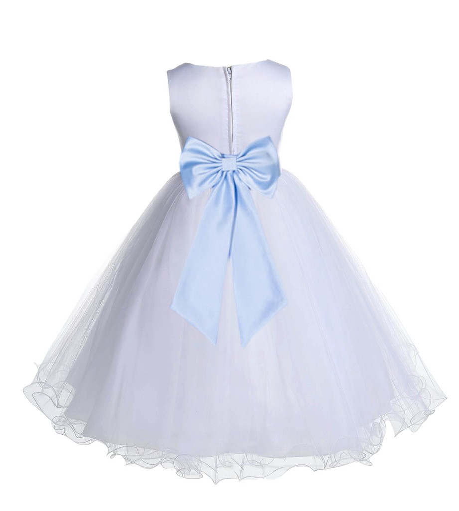 White/Ice Blue Tulle Rattail Edge Flower Girl Dress Wedding Bridesmaid 829T