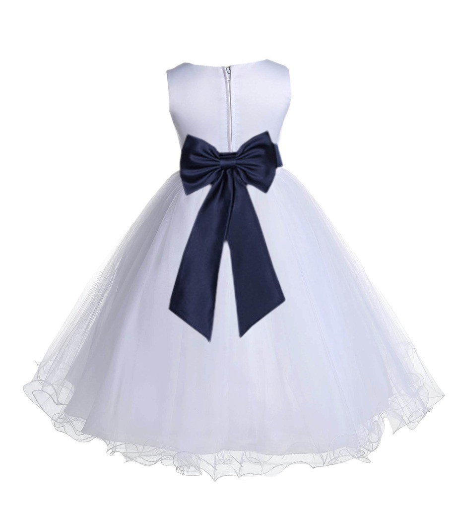 White/Marine Tulle Rattail Edge Flower Girl Dress Wedding Bridesmaid 829T