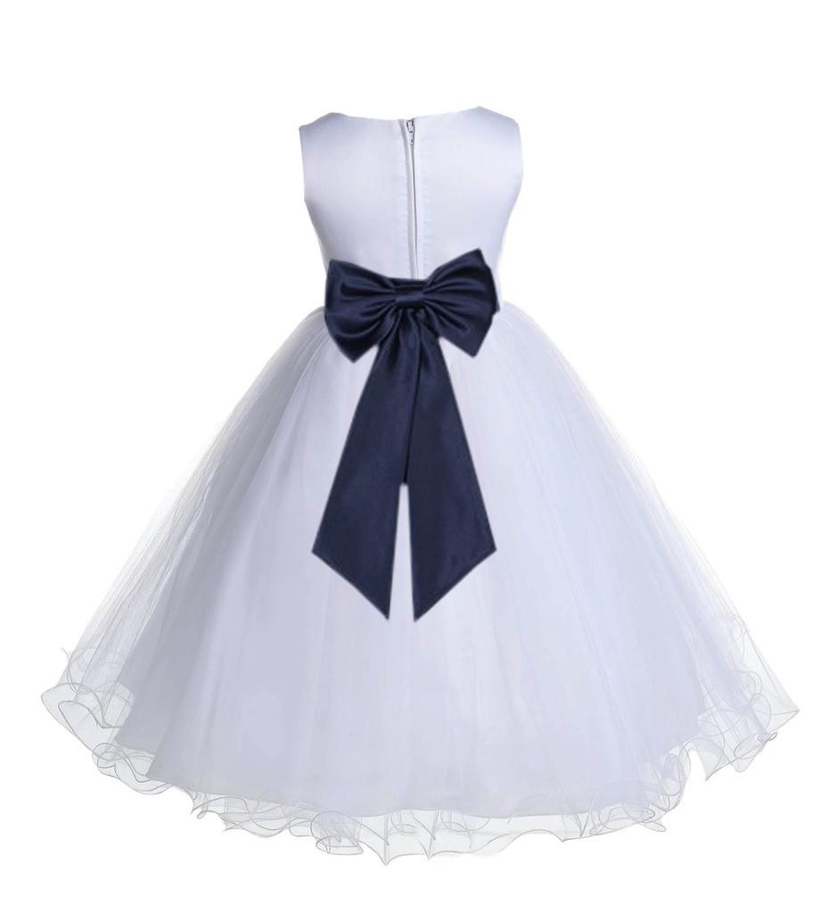 White/Midnight Tulle Rattail Edge Flower Girl Dress Wedding Bridesmaid 829T