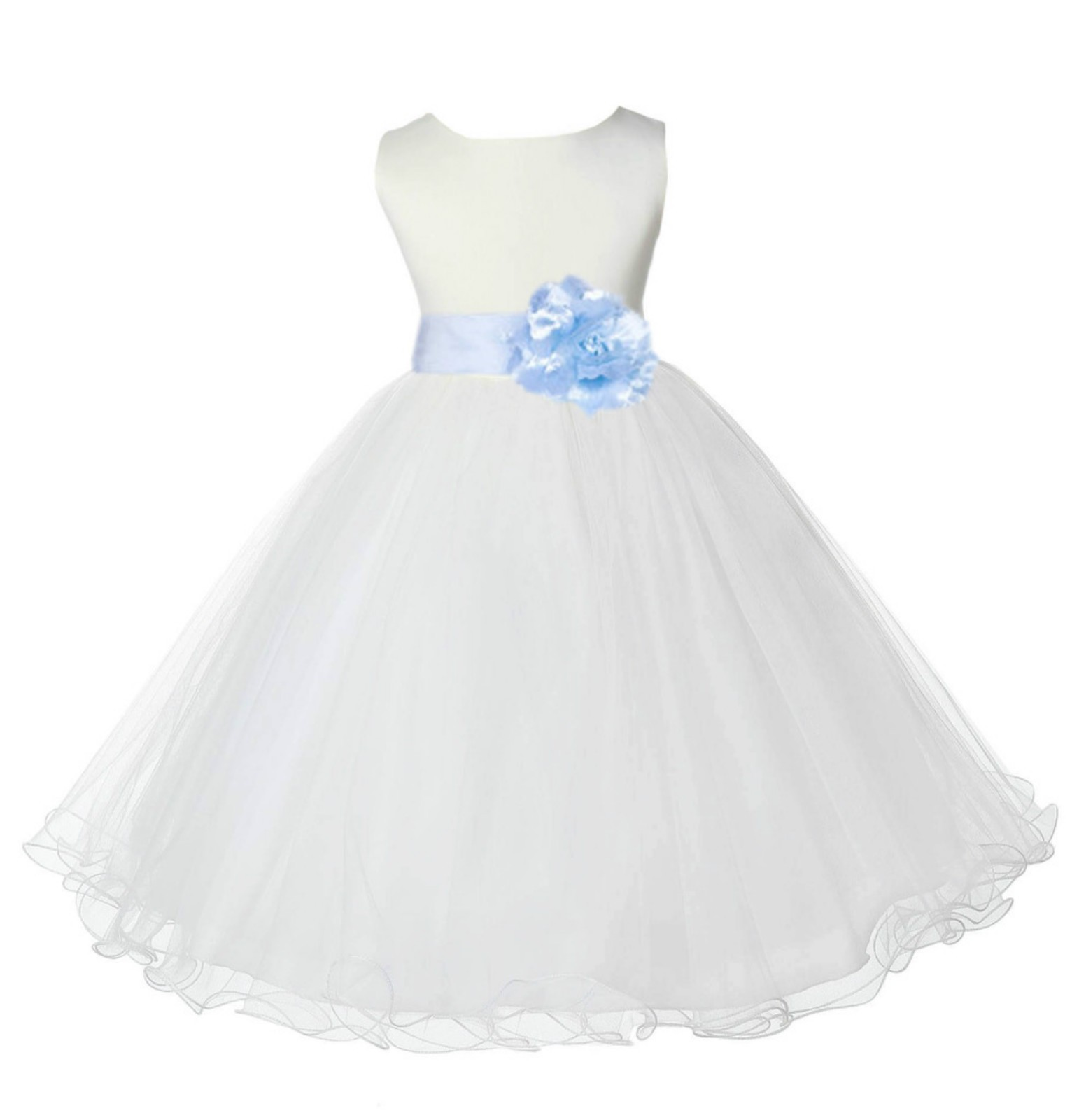 Ivory/Ice Blue Tulle Rattail Edge Flower Girl Dress Pageant Recital 829S
