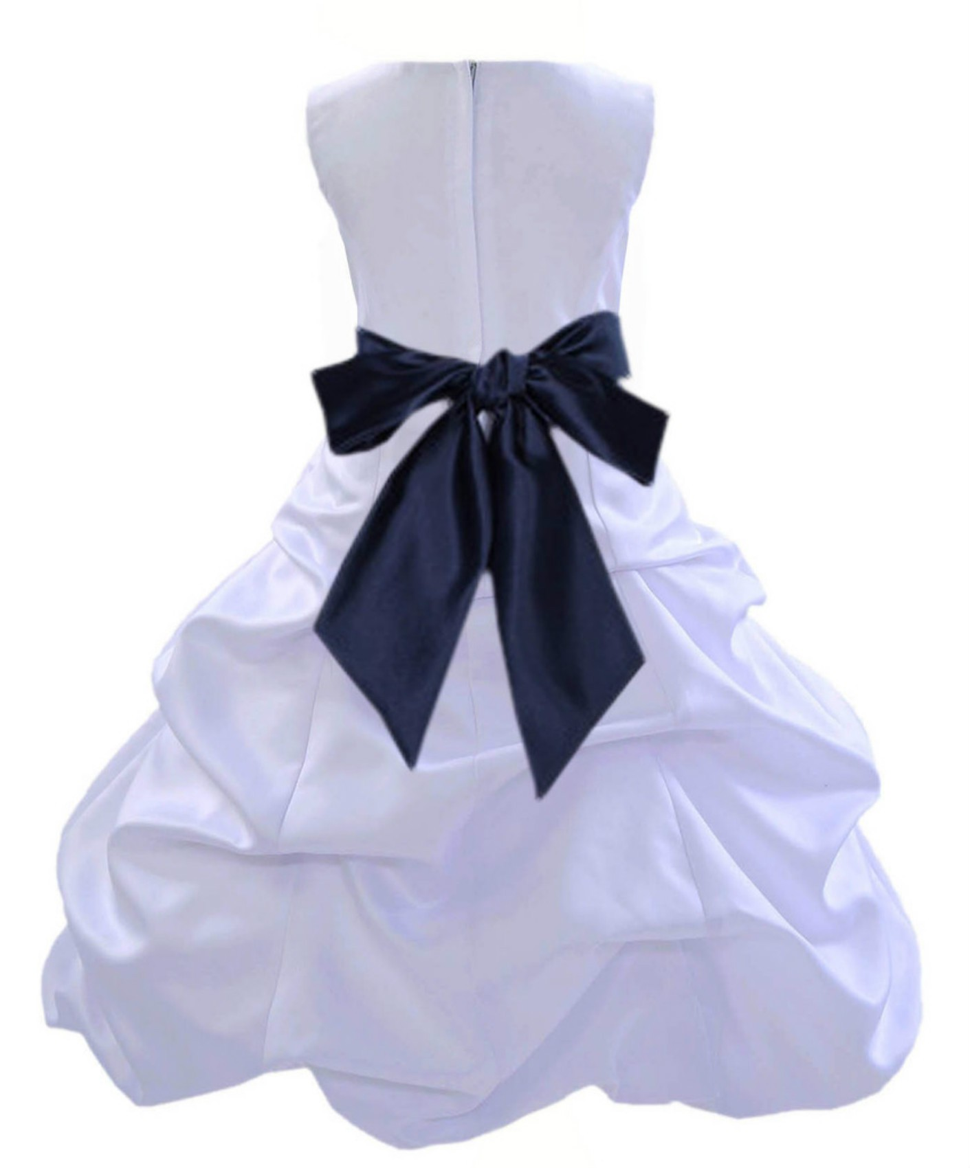 White/Marine Satin Pick-Up Bubble Flower Girl Dress Wedding 806S