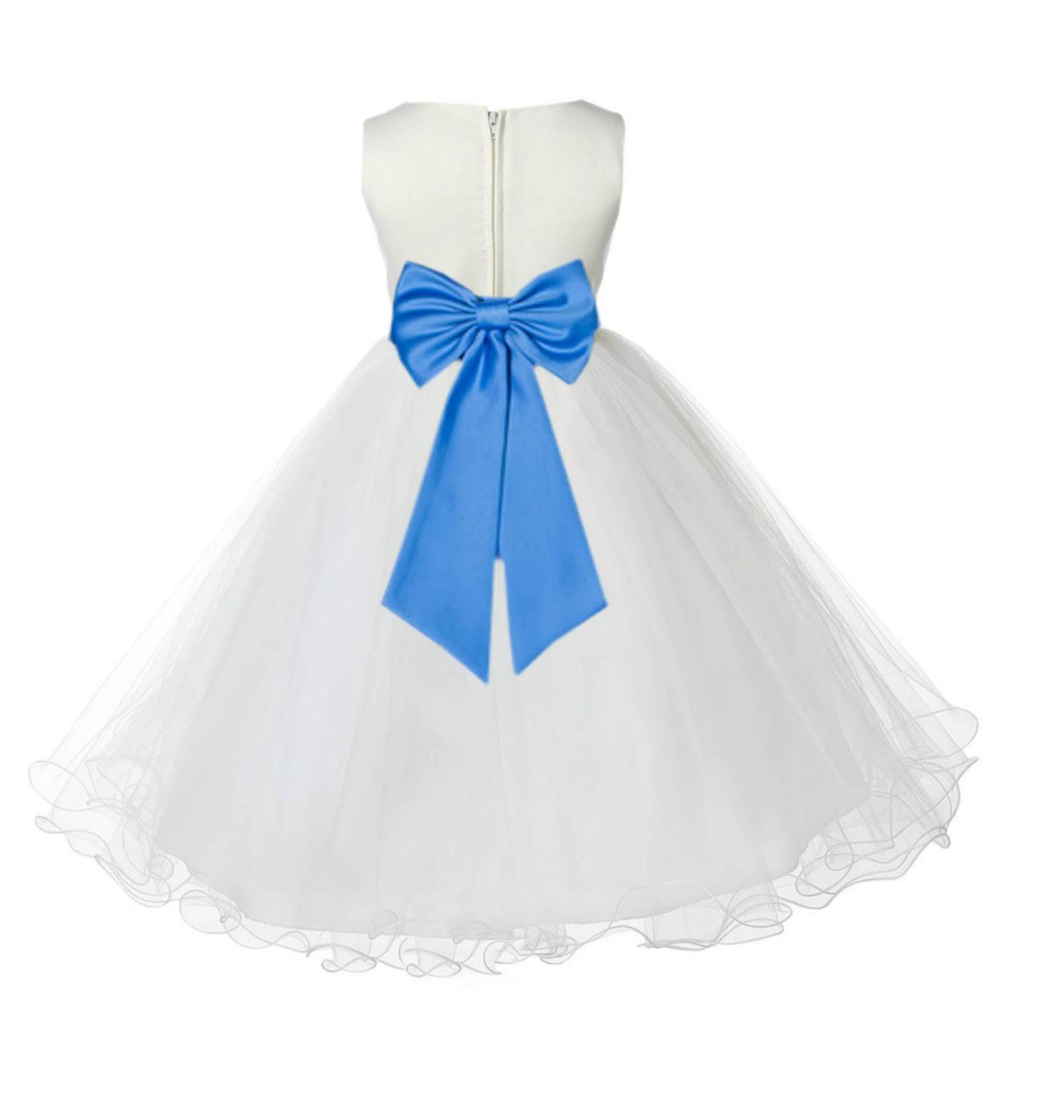 Ivory/Cornflower Tulle Rattail Edge Flower Girl Dress Pageant Recital 829T