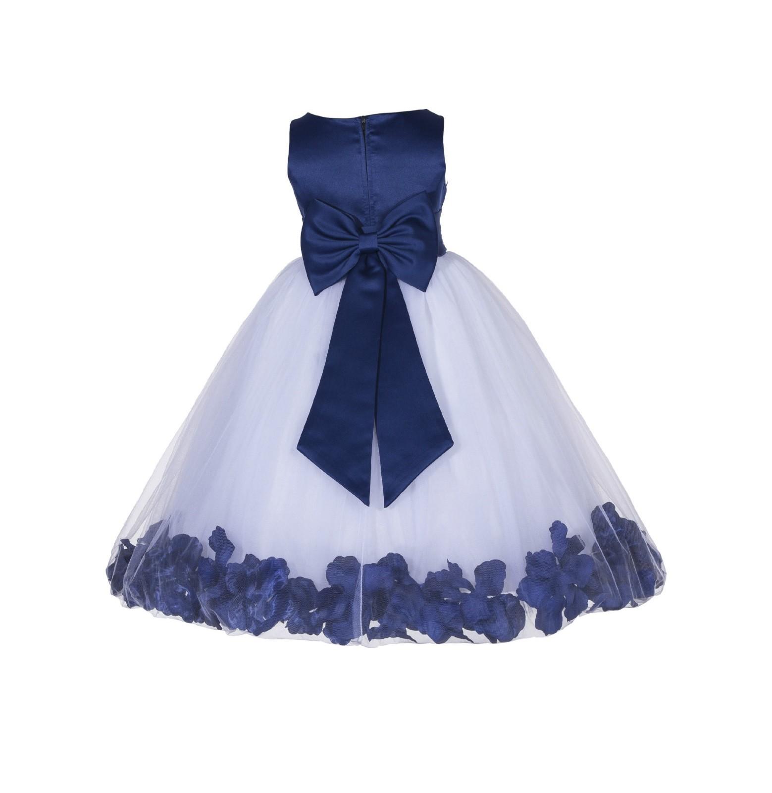 Navy Blue Floral Rose Petals Tulle Flower Girl Dress 167t T