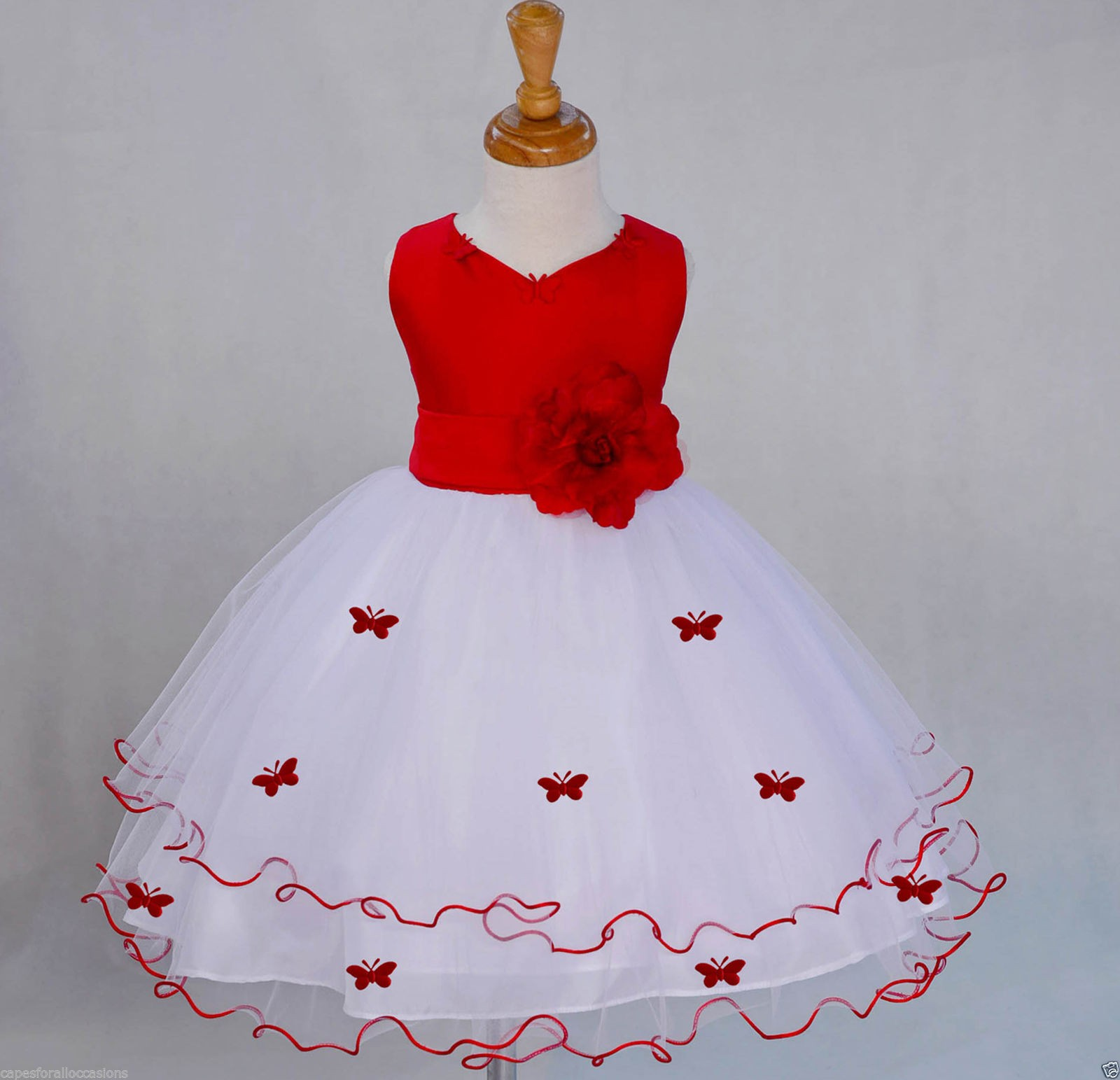 Red Satin Tulle Butterflies Flower Girl Dress Occasions 801t