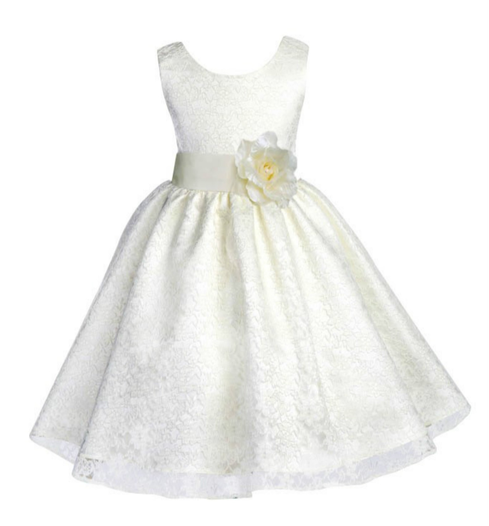 Ivory Floral Lace Overlay Flower Girl Dress Elegant Beauty 163T