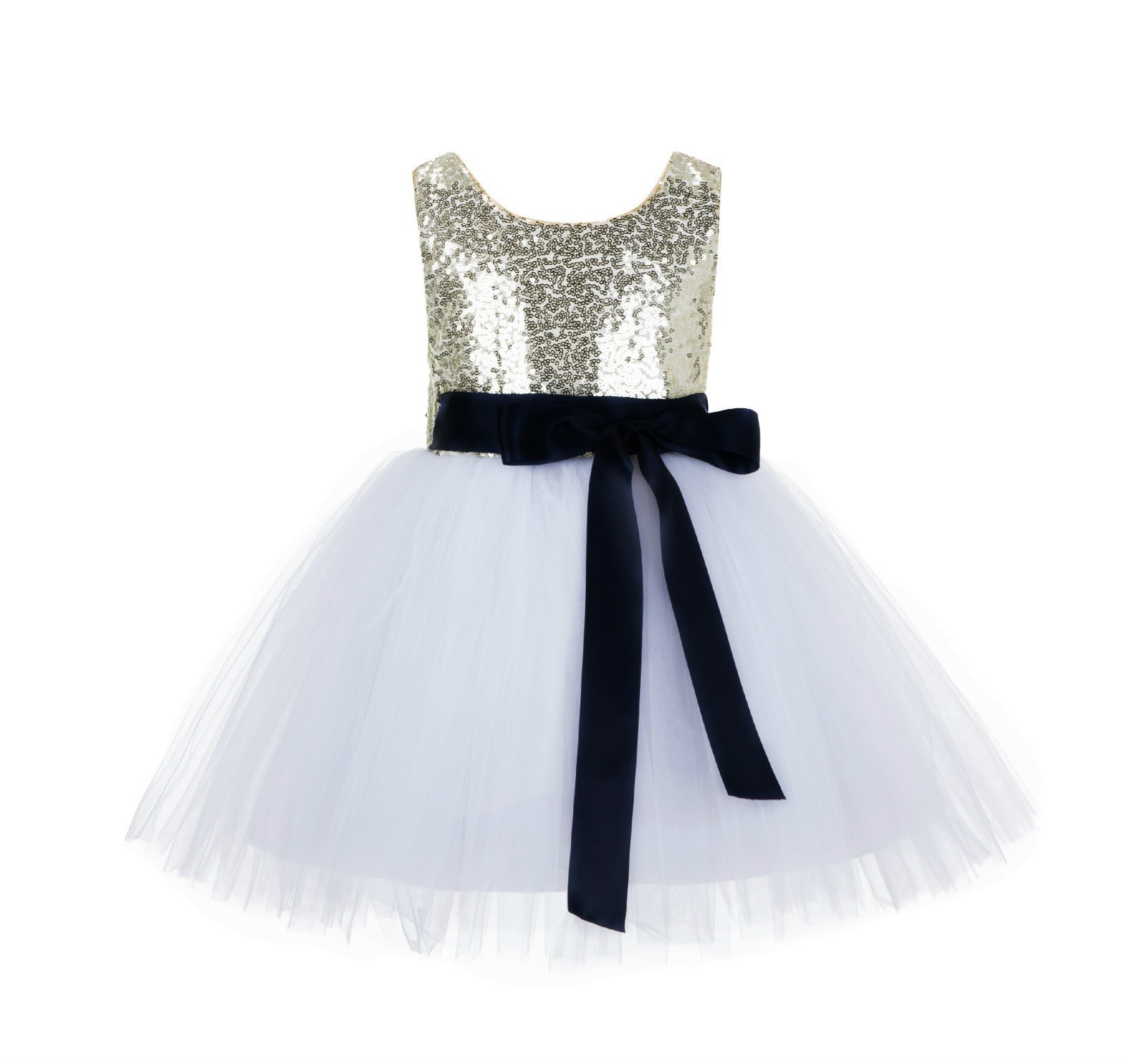 Goldwhiteblack Glitter Sequin Tulle Flower Girl Dress Recital