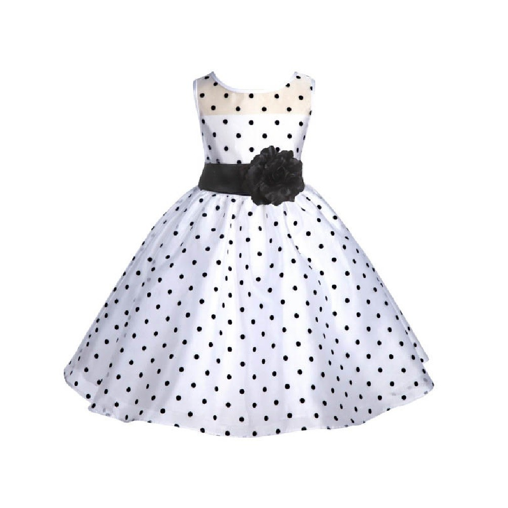 White/Black/Black Polka Dot Organza Flower Girl Dress Party Recital 1509
