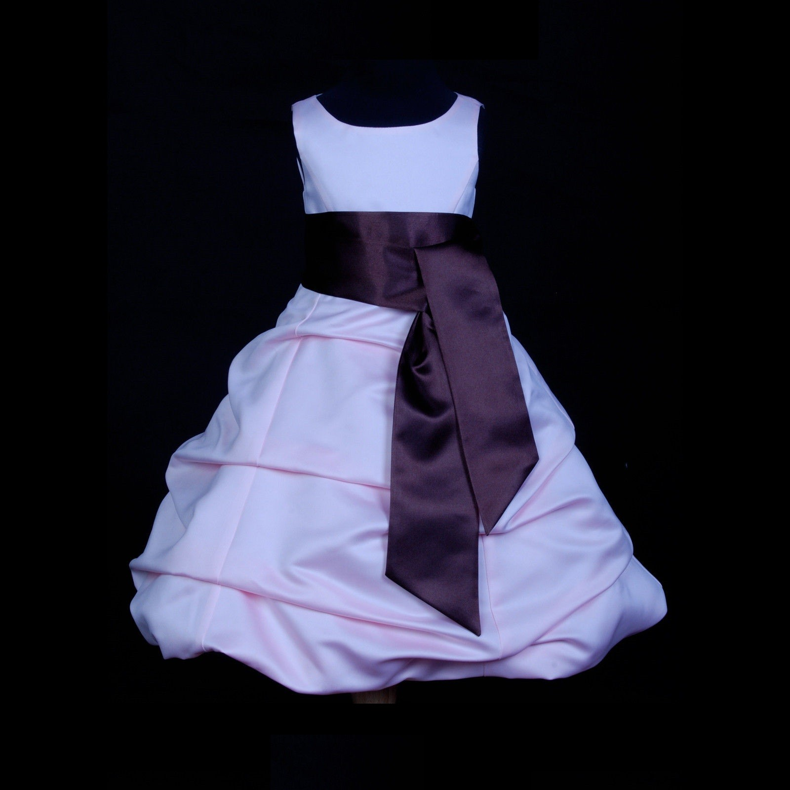 Pink/Brown Satin Pick-Up Bubble Flower Girl Dress Fairy 806S