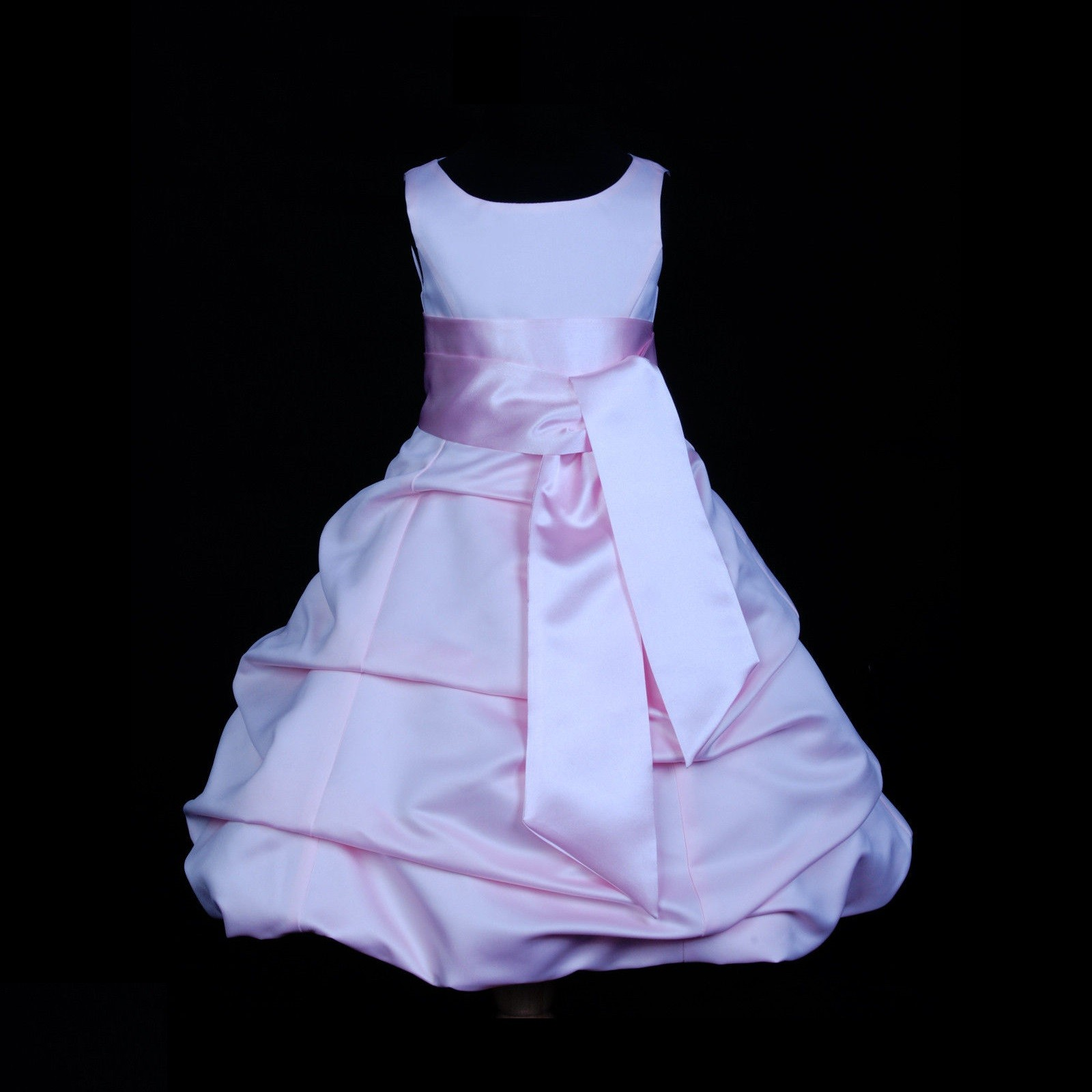 Pink/Pink Satin Pick-Up Bubble Flower Girl Dress Fairy 806S