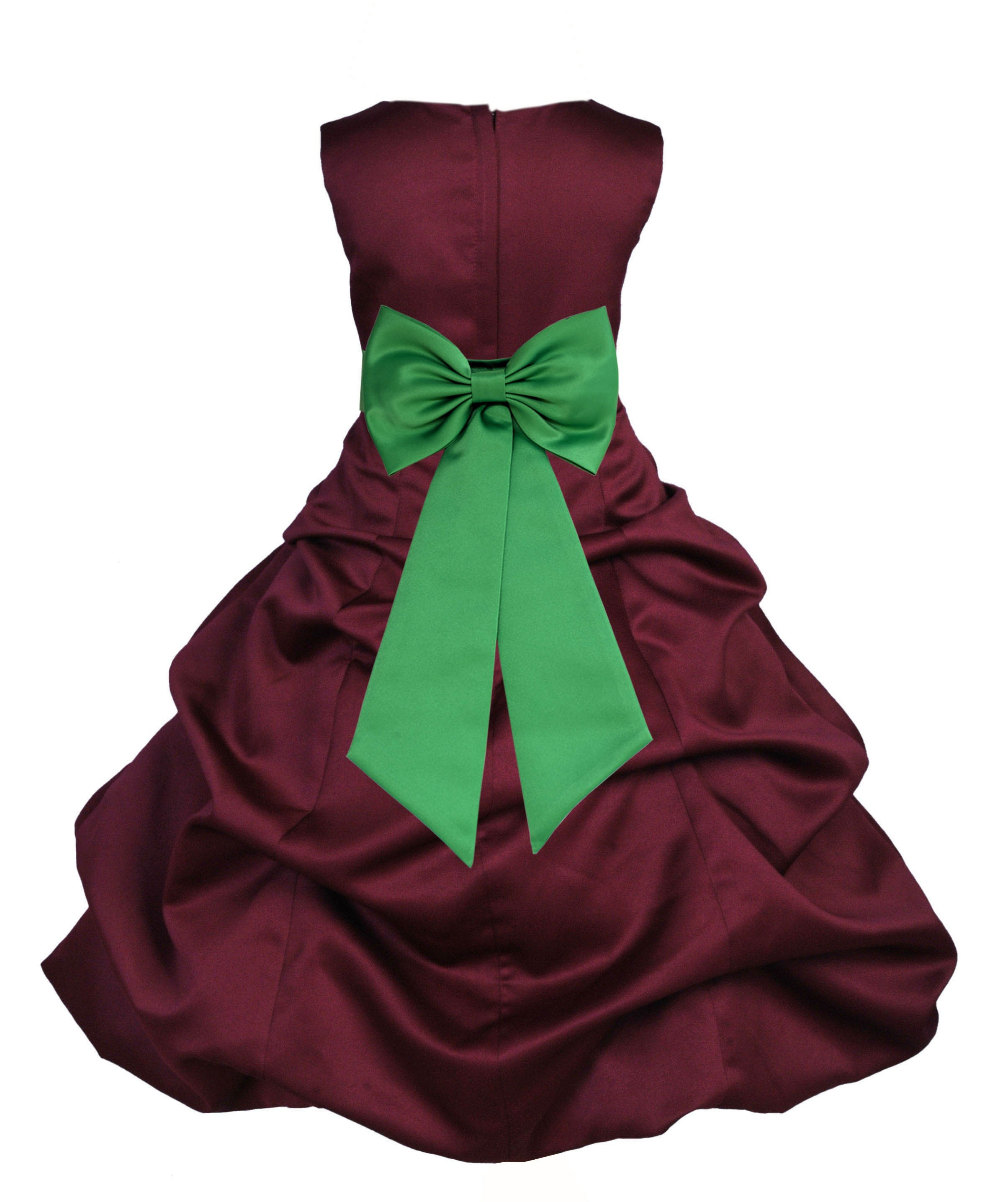 Burgundy/Lime Satin Pick-Up Bubble Flower Girl Dress Event 808T