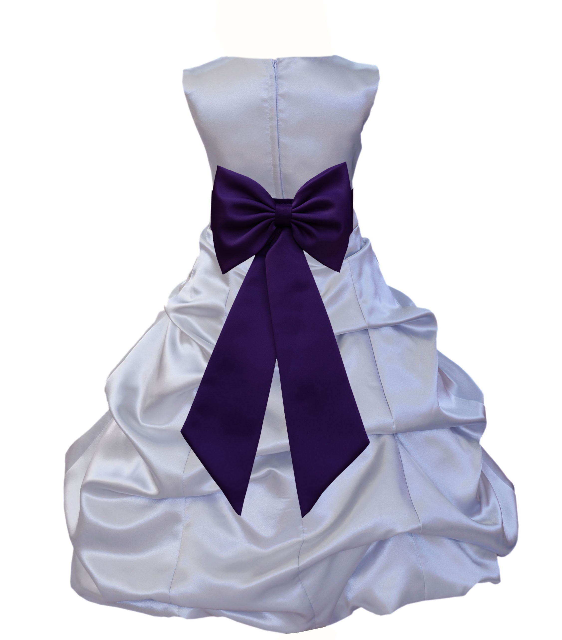 7bf0988cb2a Silver Purple Satin Pick-Up Bubble Flower Girl Dress Stylish 808T ...