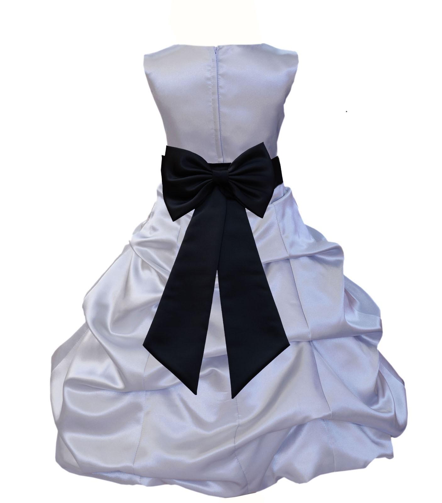 Silver/Black Satin Pick-Up Bubble Flower Girl Dress Stylish 808T