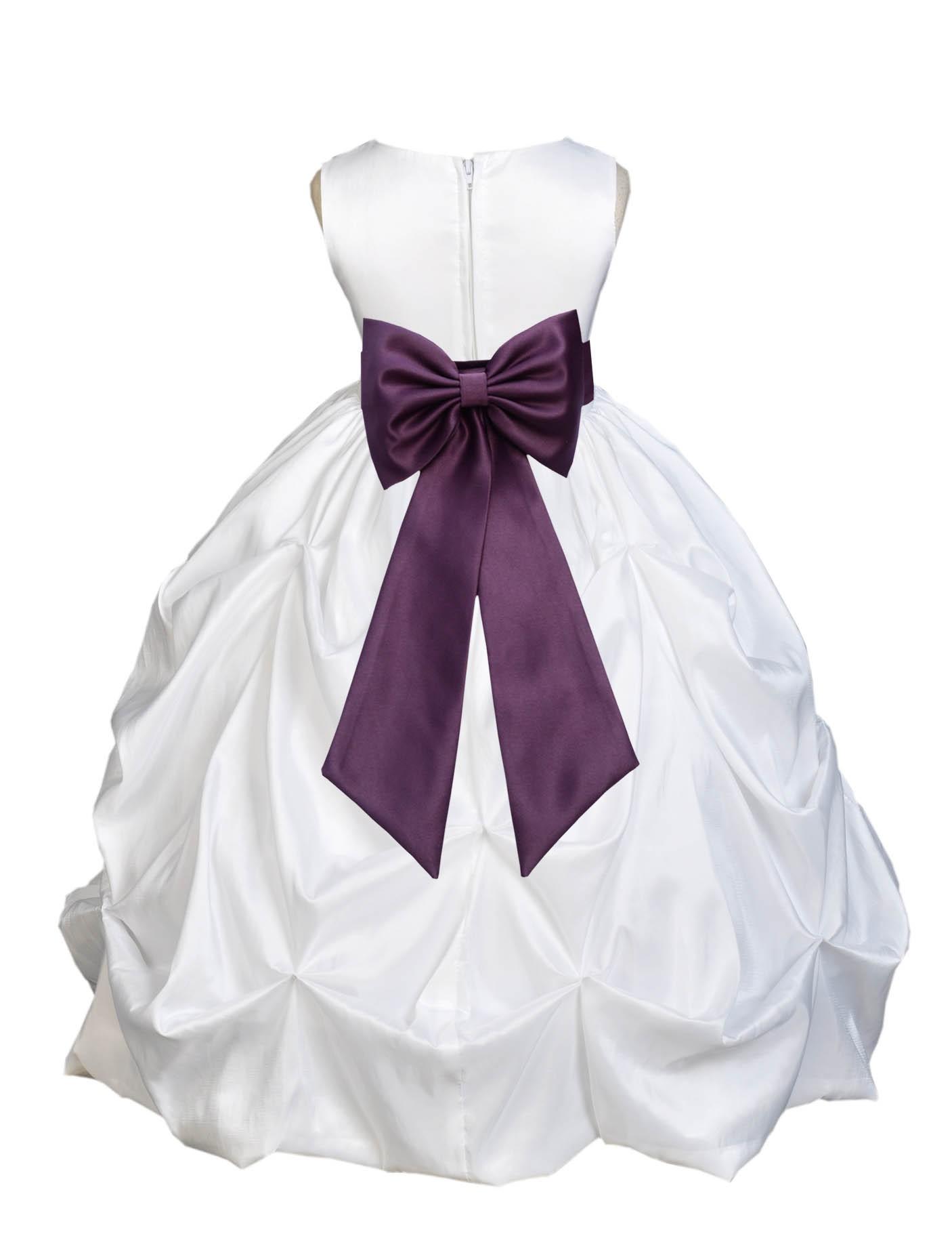 ef25cf789509 White Plum Satin Taffeta Pick-Up Bubble Flower Girl Dress 301T ...