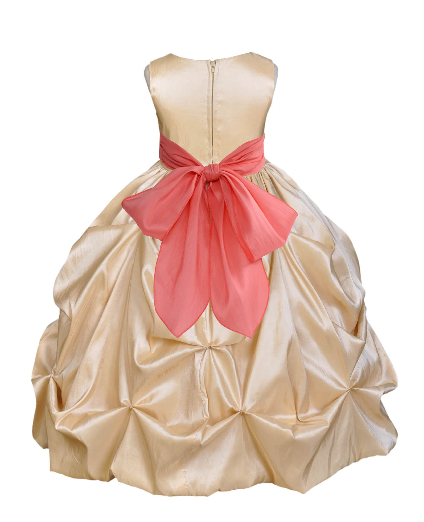 Champagne/Coral Satin Taffeta Pick-Up Bubble Flower Girl Dress 301S ...