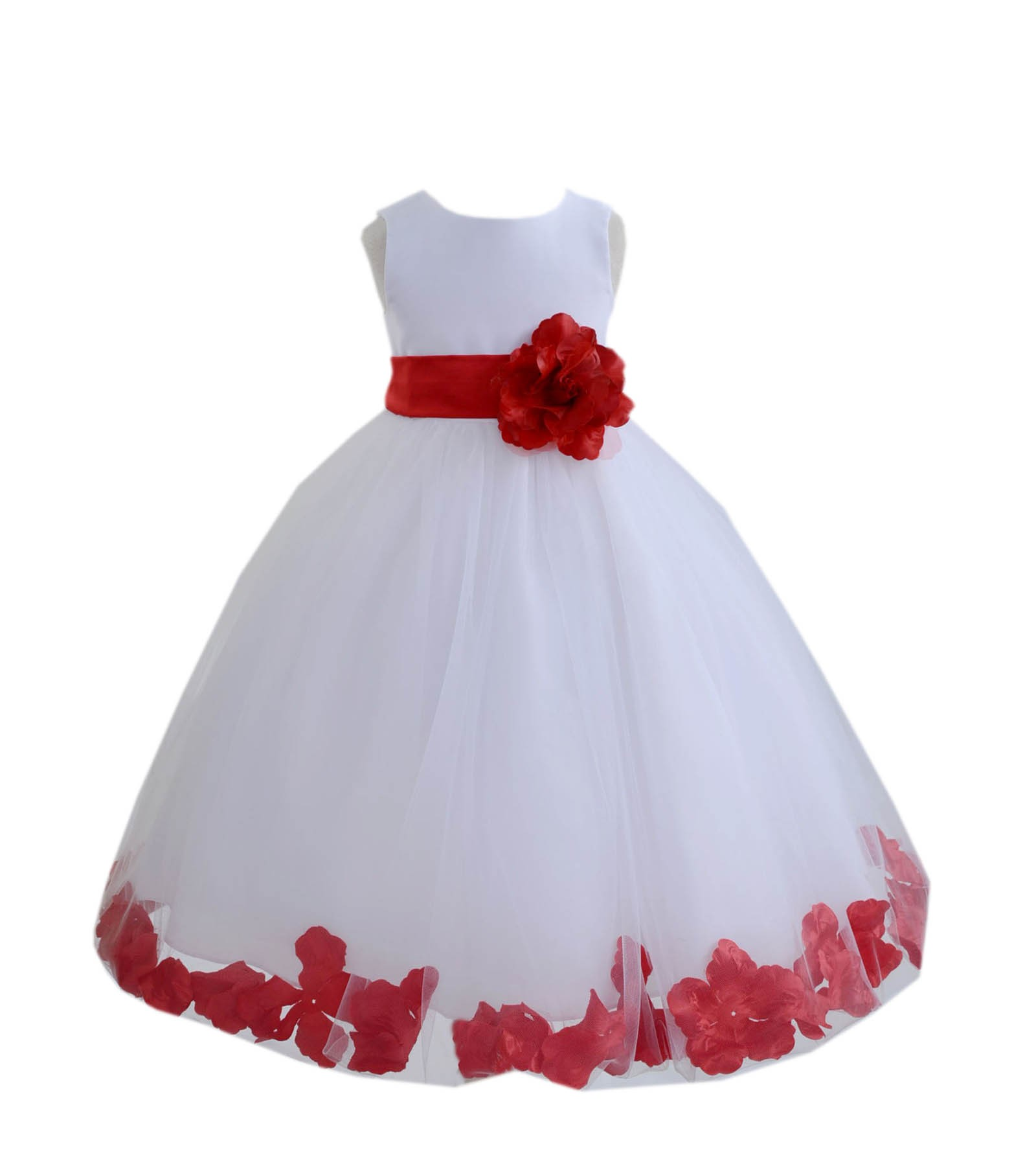 White apple red tulle rose petals flower girl dress for How to ship a wedding dress usps