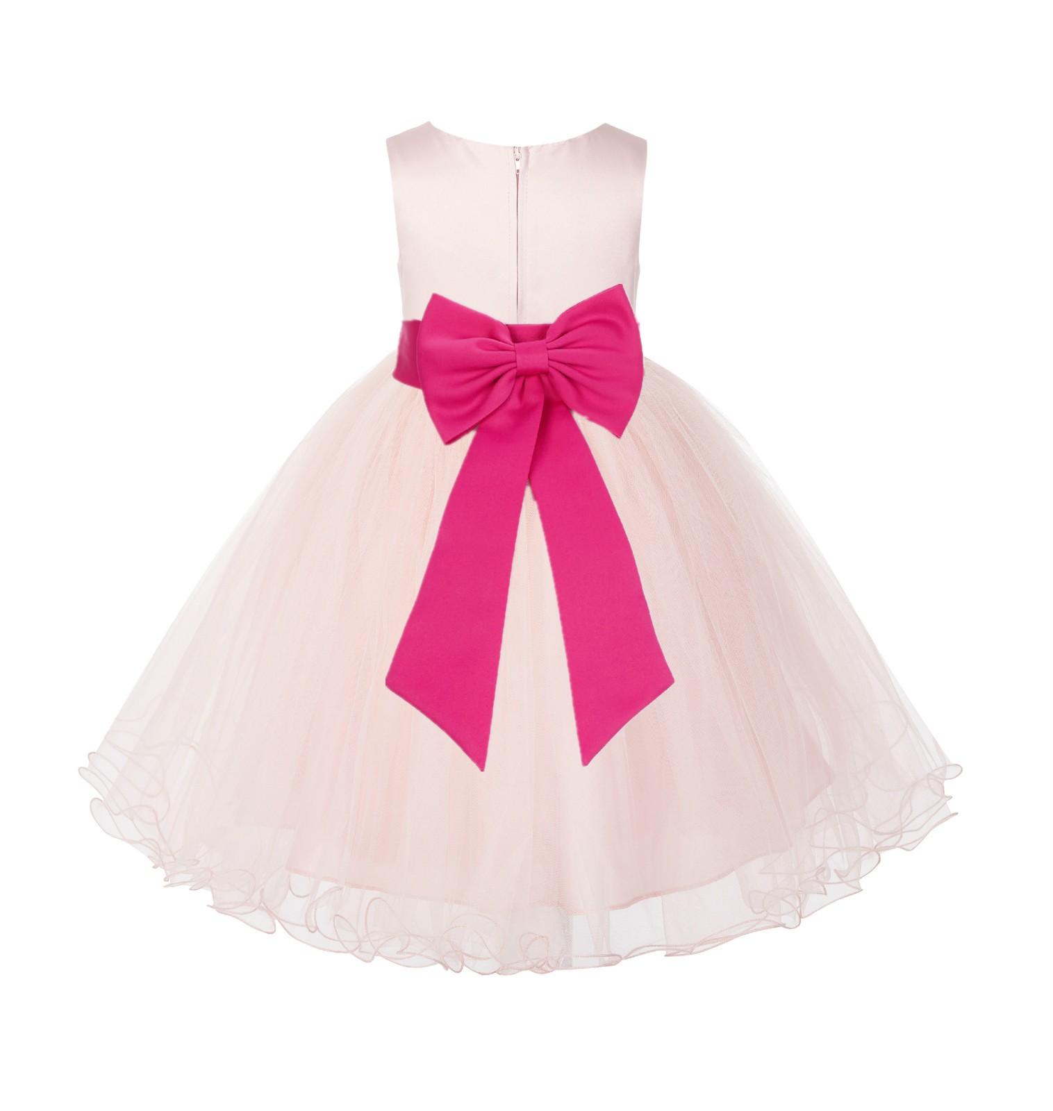 Blush PInk / Fuchsia Tulle Rattail Edge Flower Girl Dress Wedding Bridesmaid 829T