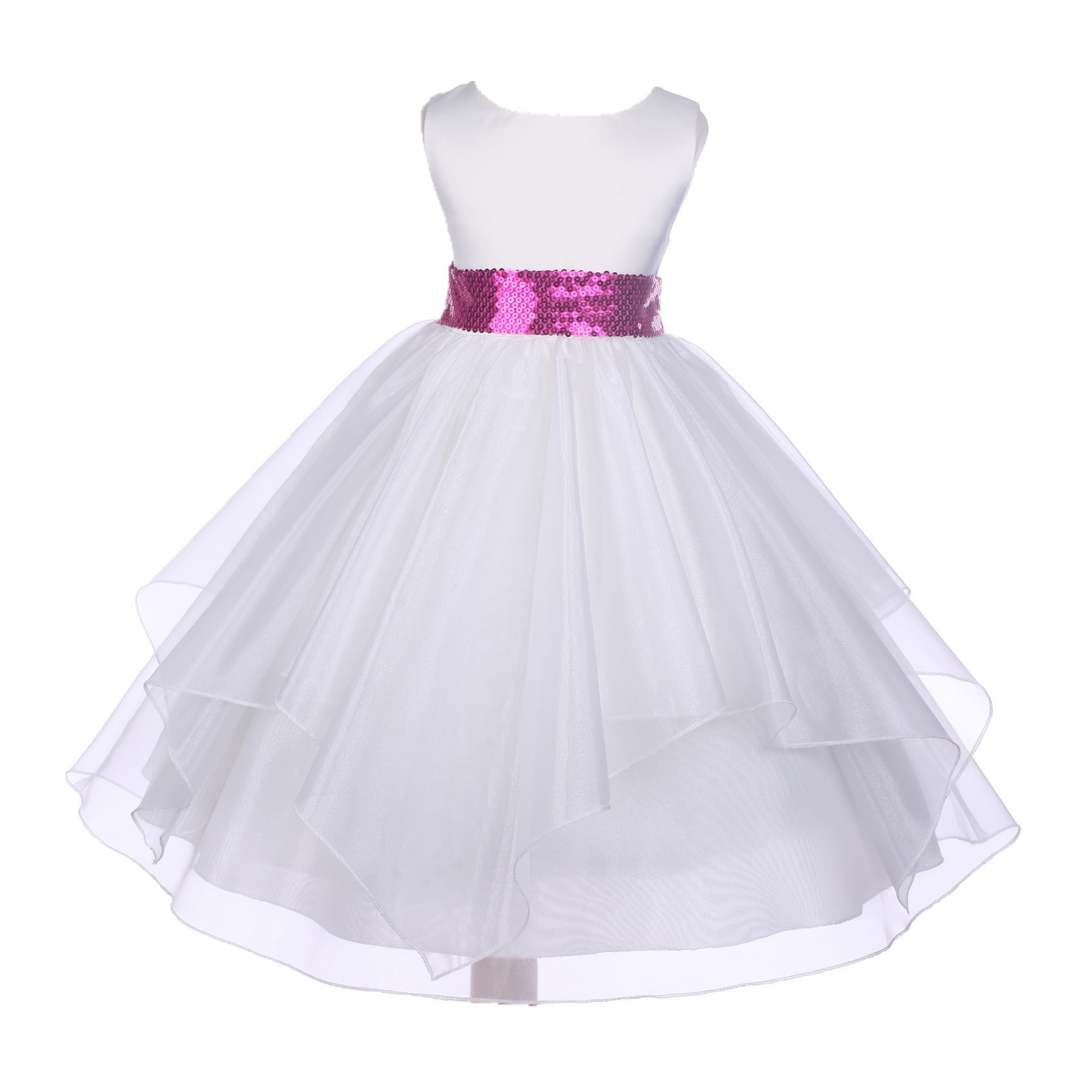 White Satin Organza Fuchsia Sequin Sash Flower Girl Dress J012mh