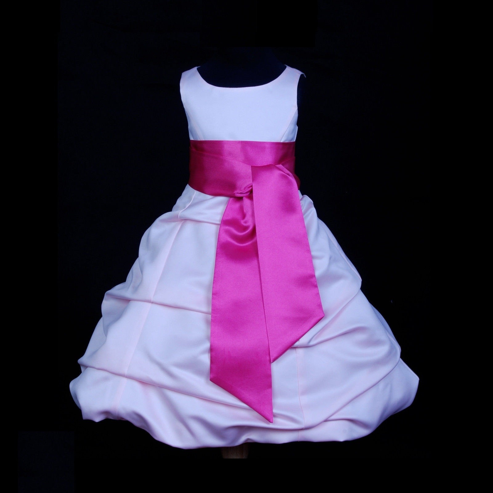 Pink/Fuchsia Satin Pick-Up Bubble Flower Girl Dress Fairy 806S