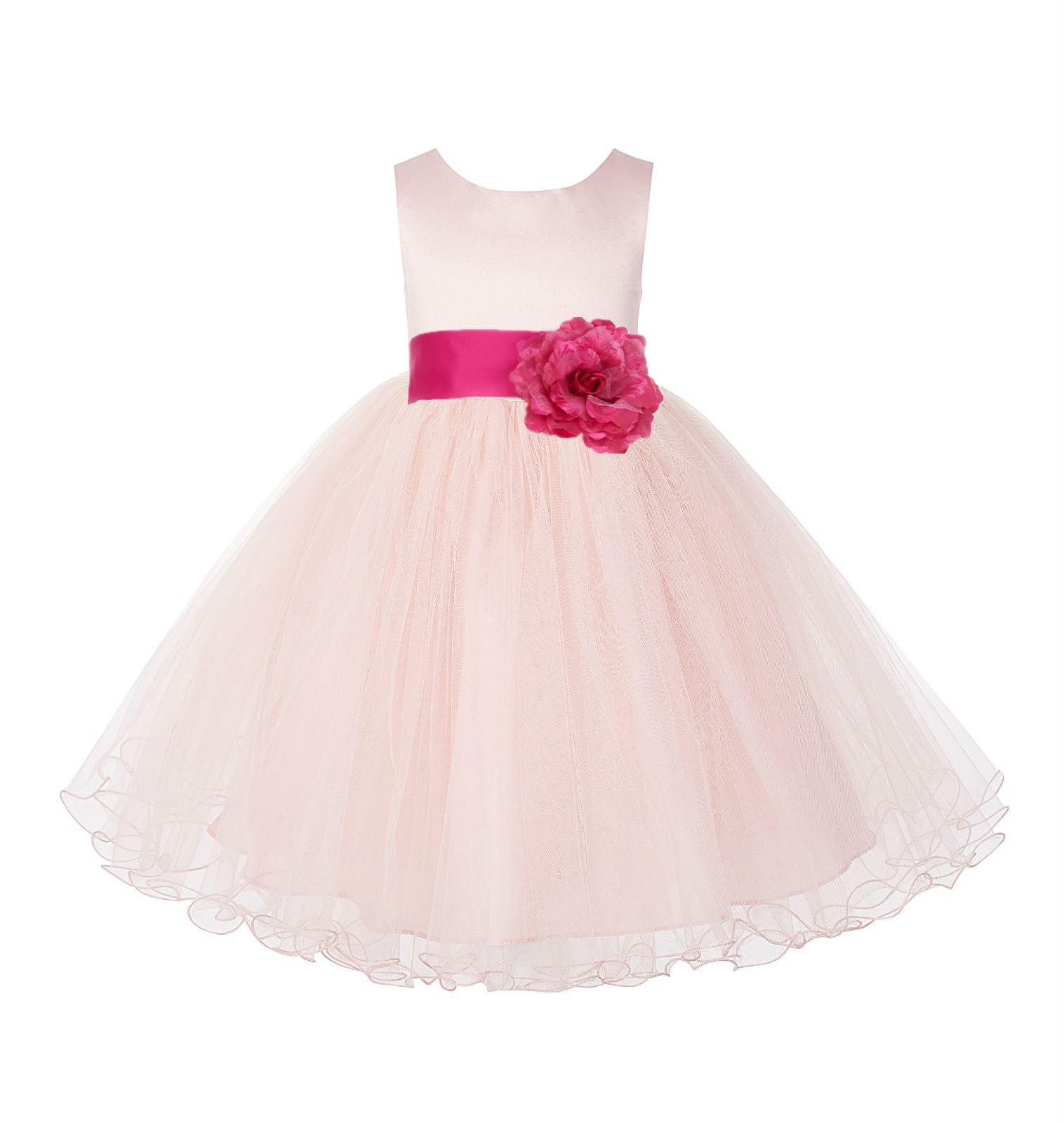Blush Pink / Fuchsia Tulle Rattail Edge Flower Girl Dress Pageant Recital 829S
