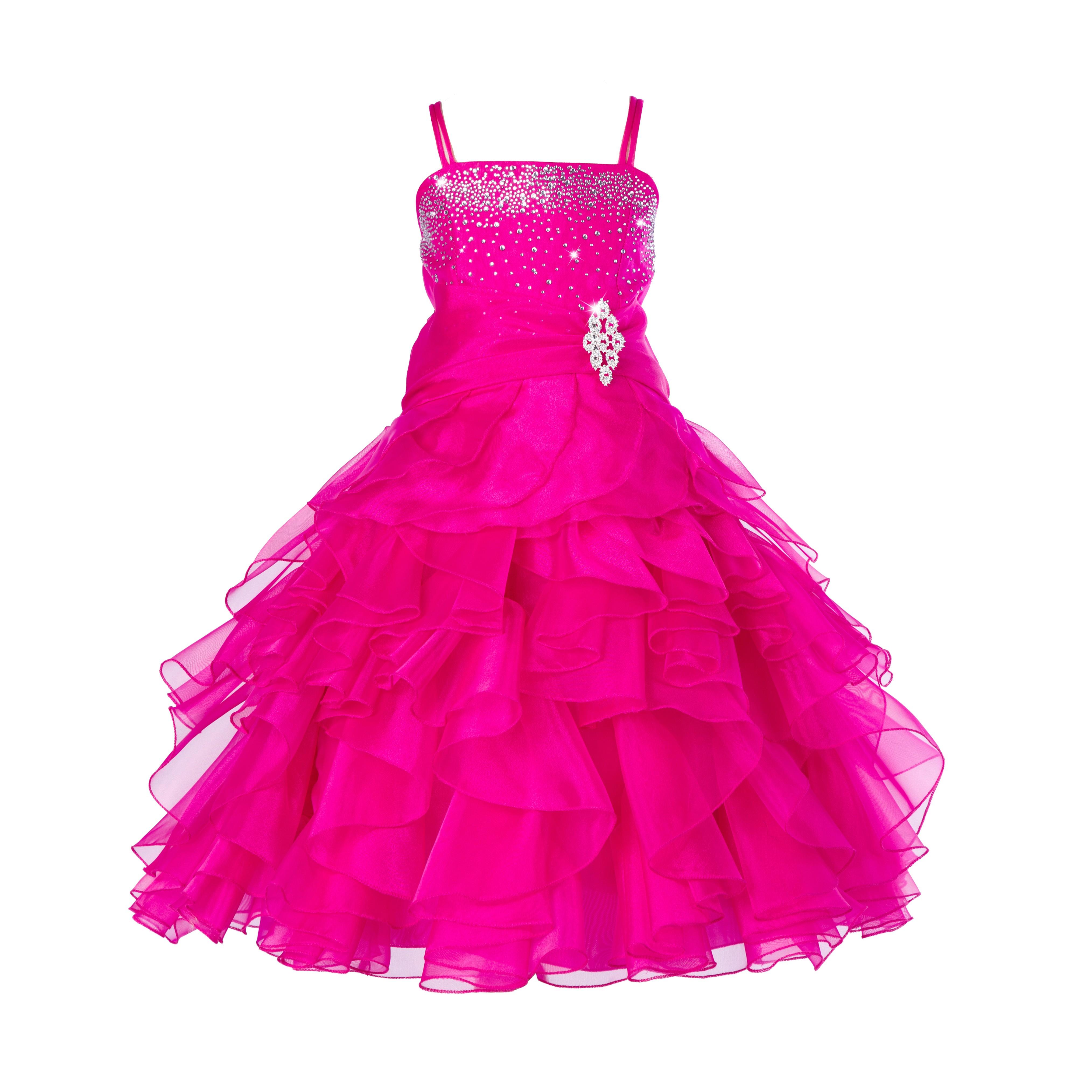 Fuchsia Rhinestone Organza Layers Flower Girl Dress Elegant Stunning 164S