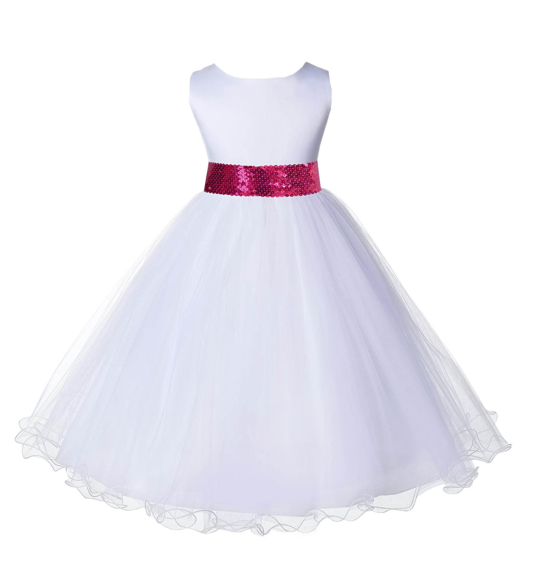 White Tulle Rattail Edge Fuchsia Sequin Sash Flower Girl Dress 829mh