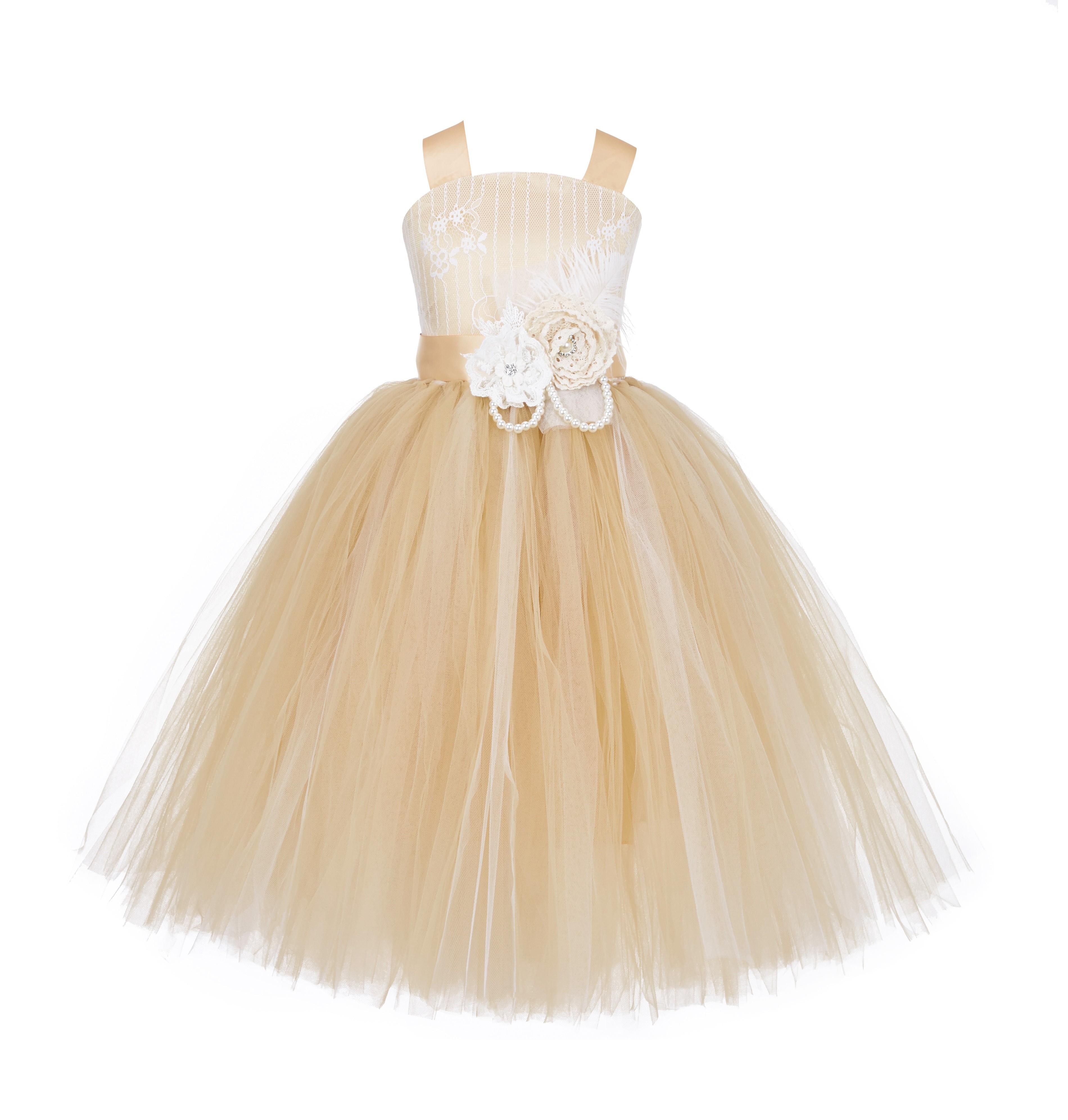 Gold Tutu Criss-Cross Back Lace Tulle Flower Girl Dress 119