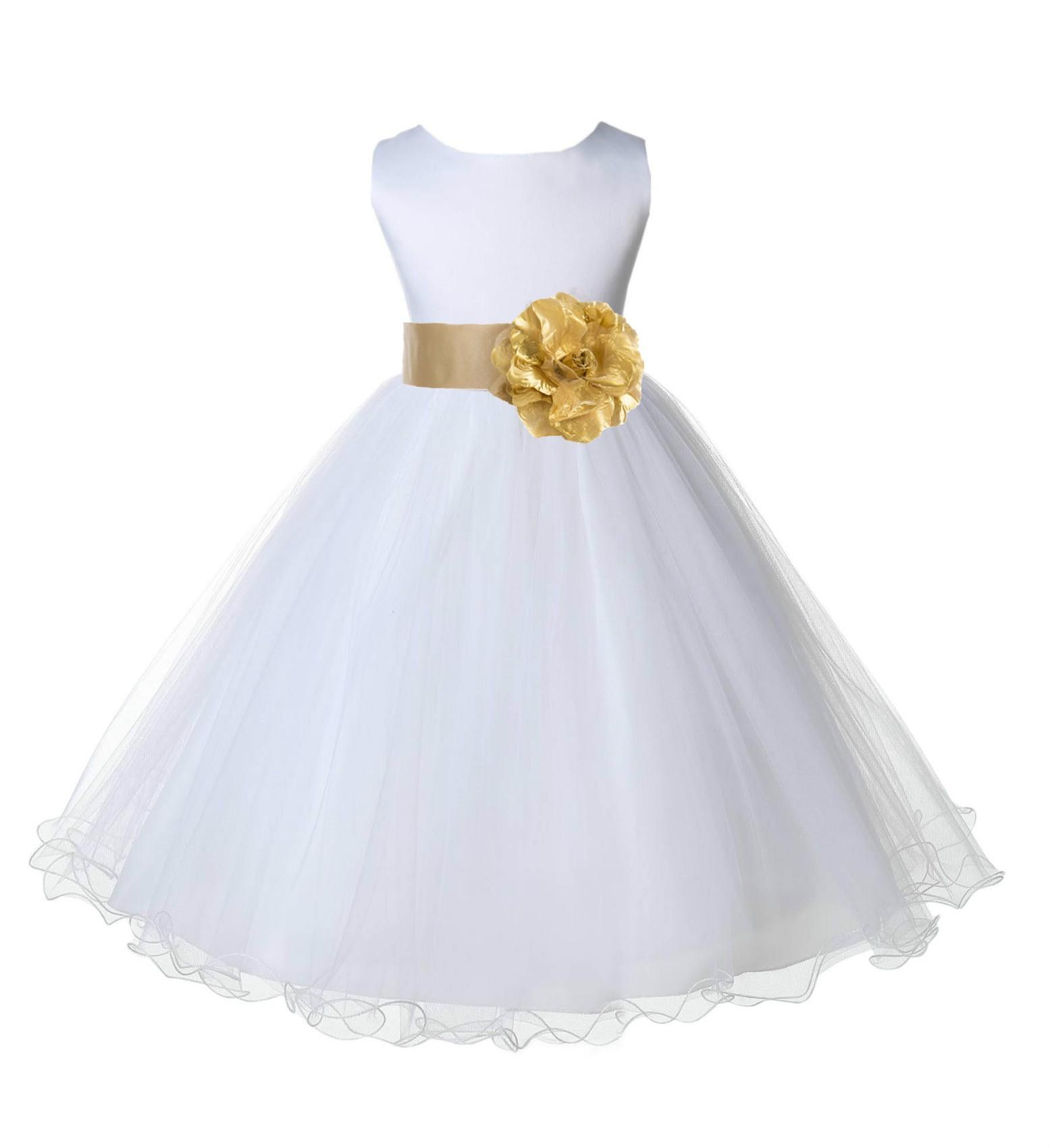 White/GoldTulle Rattail Edge Flower Girl Dress Wedding Bridal 829S