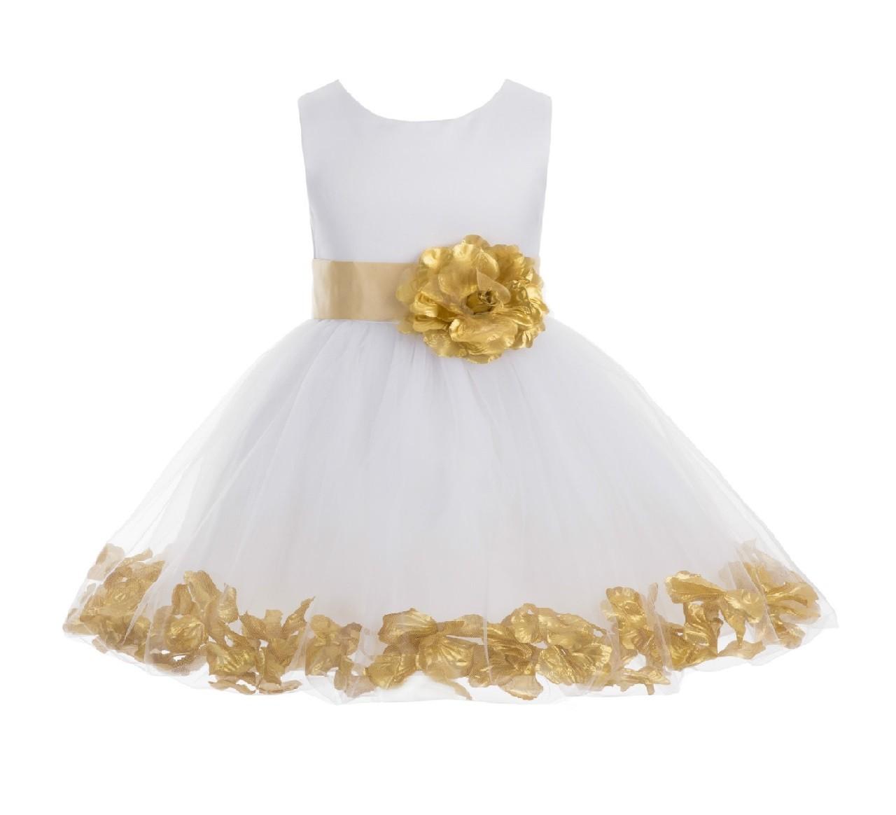White/ Gold Rose Petals Tulle Flower Girl Dress Wedding 305T