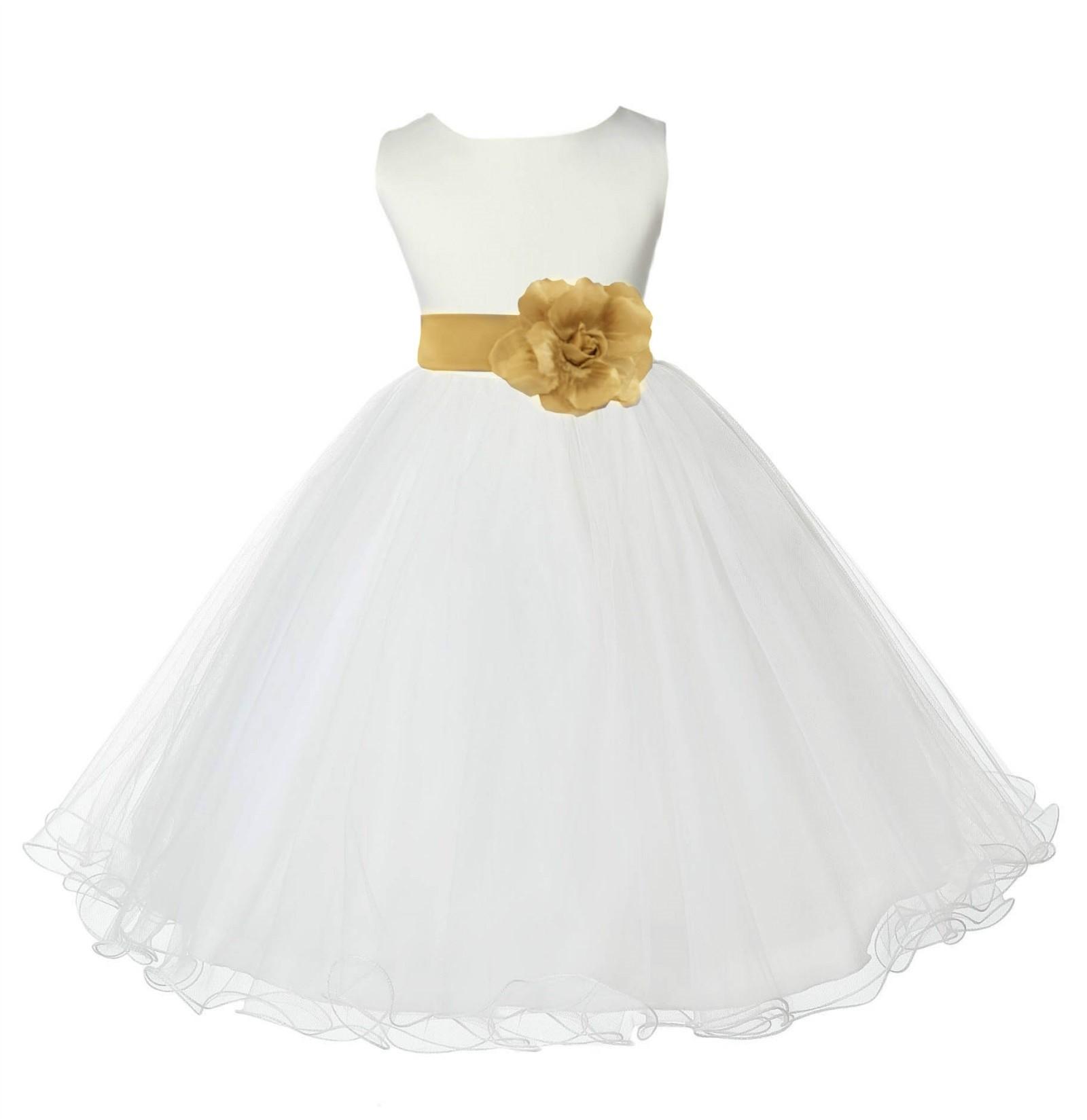 Ivory/Gold Tulle Rattail Edge Flower Girl Dress Pageant Recital 829S