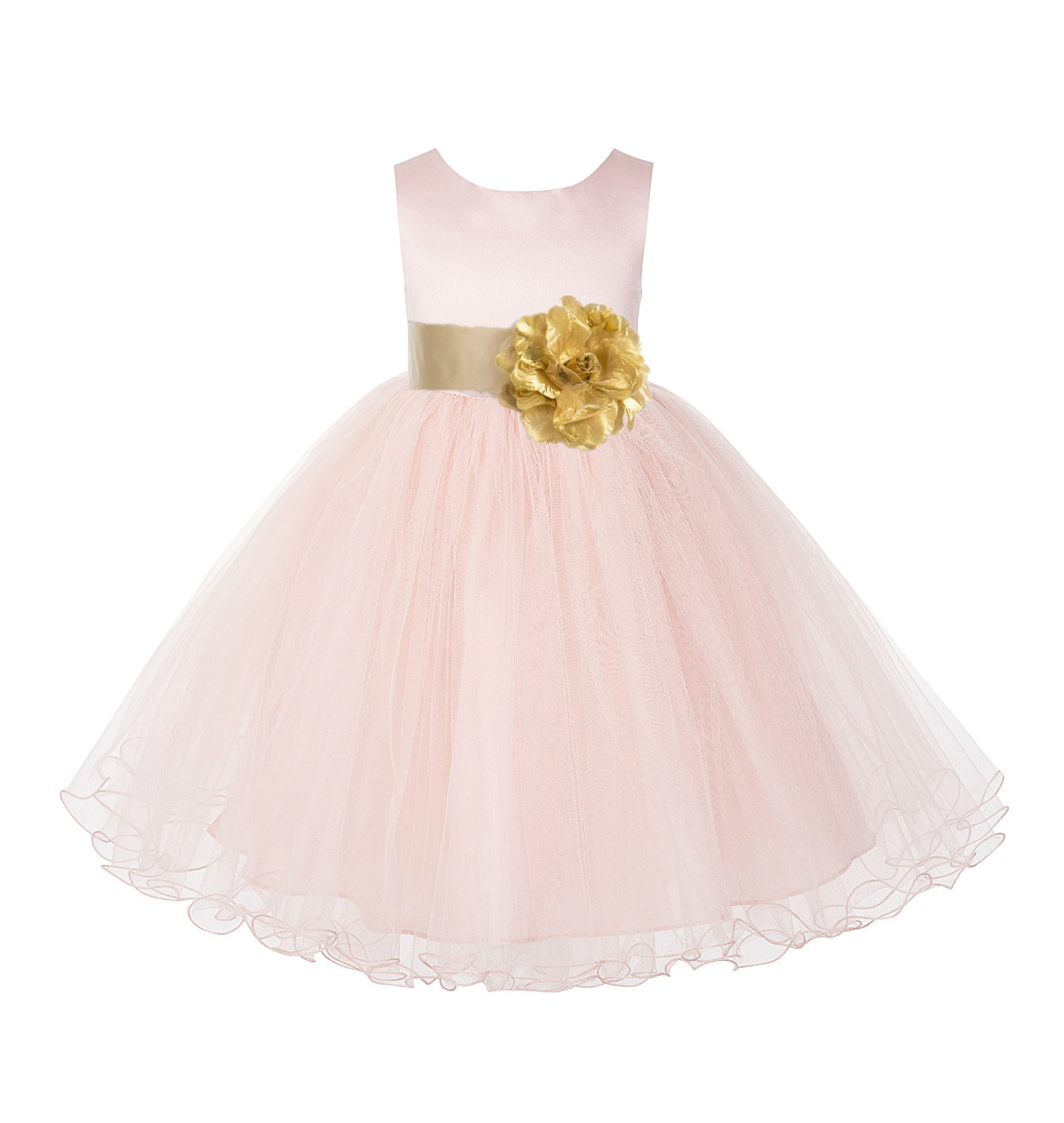 Blush Pink / Gold Tulle Rattail Edge Flower Girl Dress Pageant Recital 829S