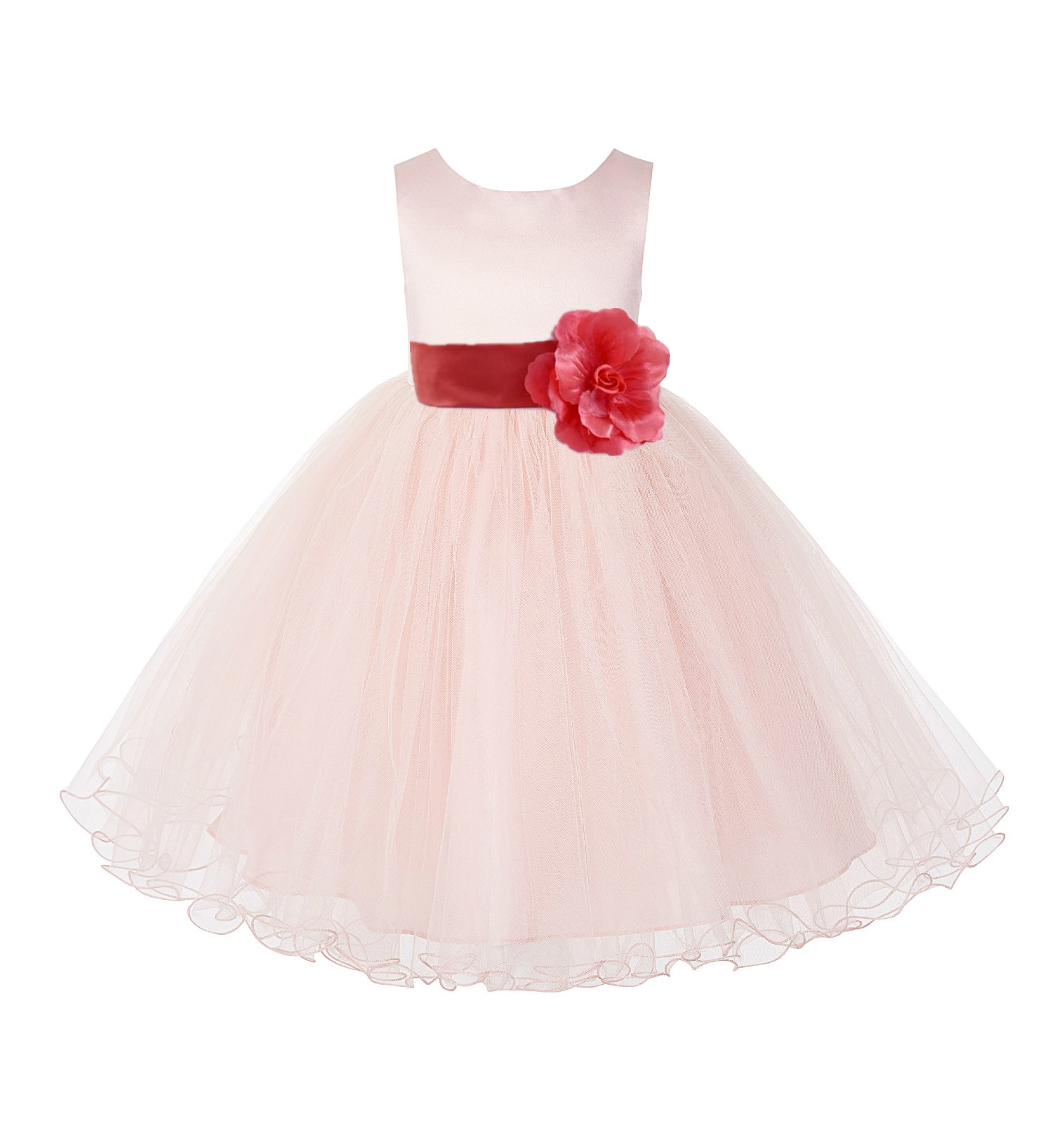 Blush Pink / Guava Tulle Rattail Edge Flower Girl Dress Pageant Recital 829S