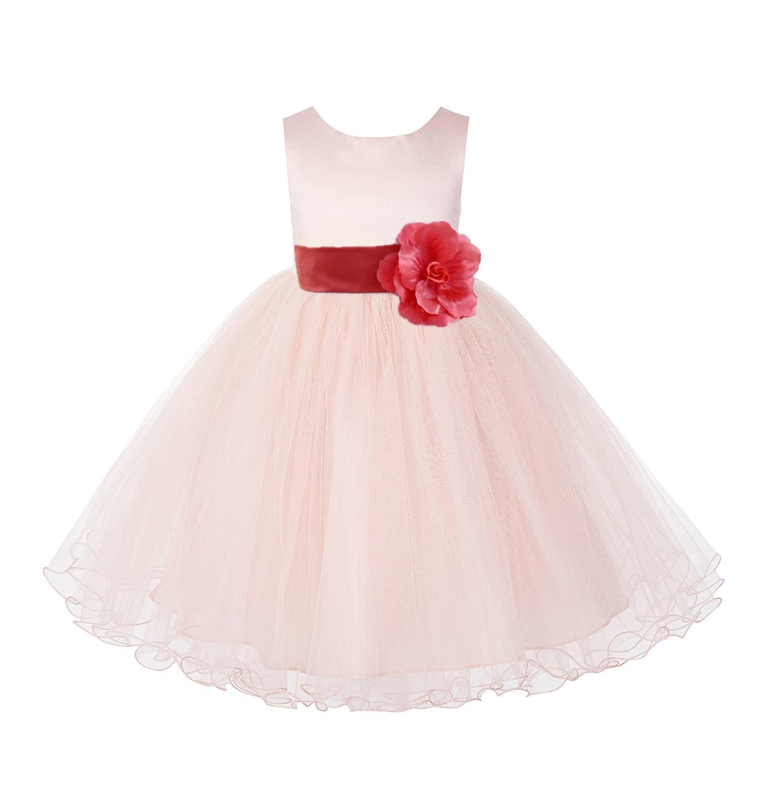 Blush PInk / Guava Tulle Rattail Edge Flower Girl Dress Wedding Bridesmaid 829T