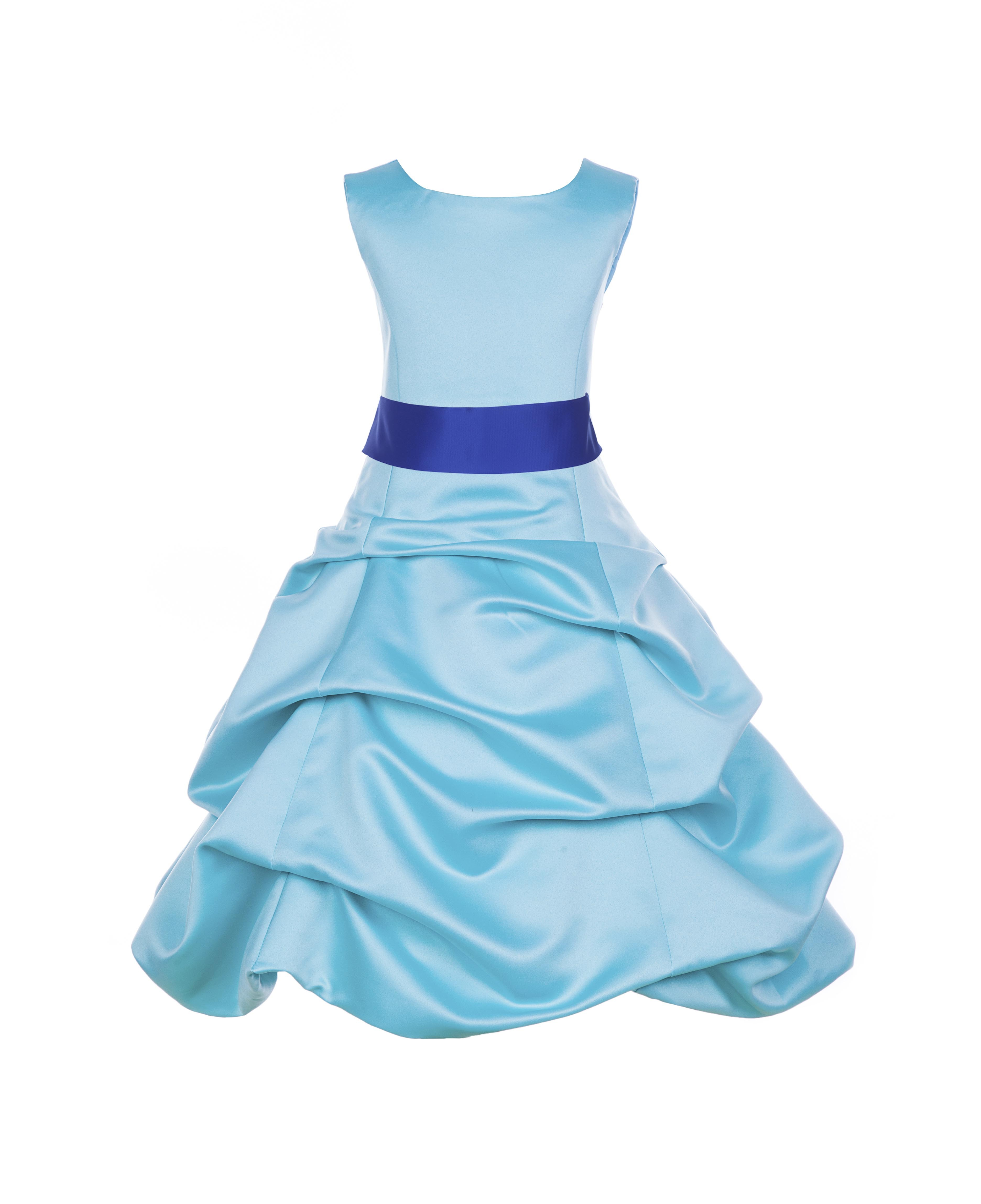 c61922dab34 Spa Blue Horizon Satin Pick-Up Bubble Flower Girl Dress 806S - Spa ...