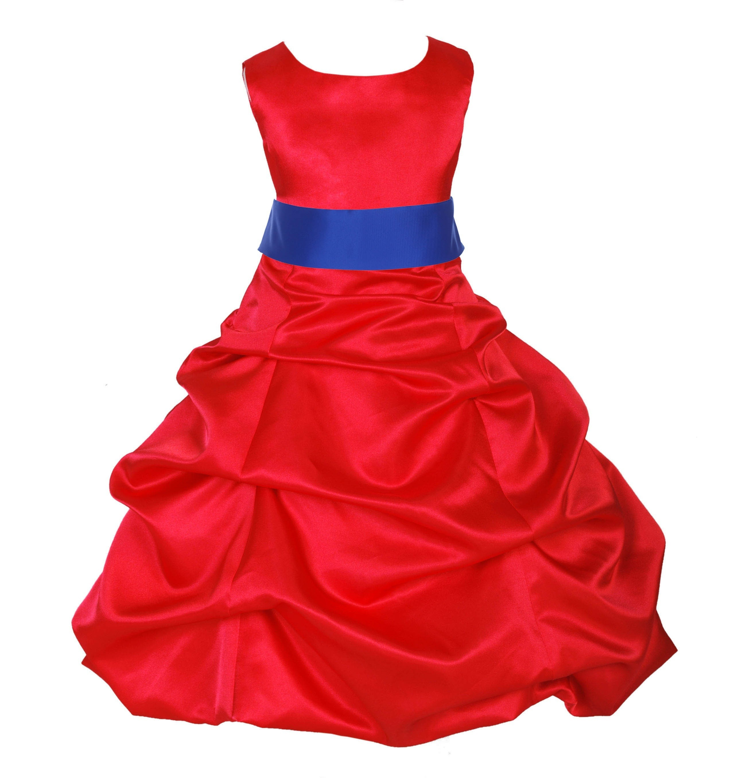 Red/Horizon Satin Pick-Up Bubble Flower Girl Dress Christmas 806S