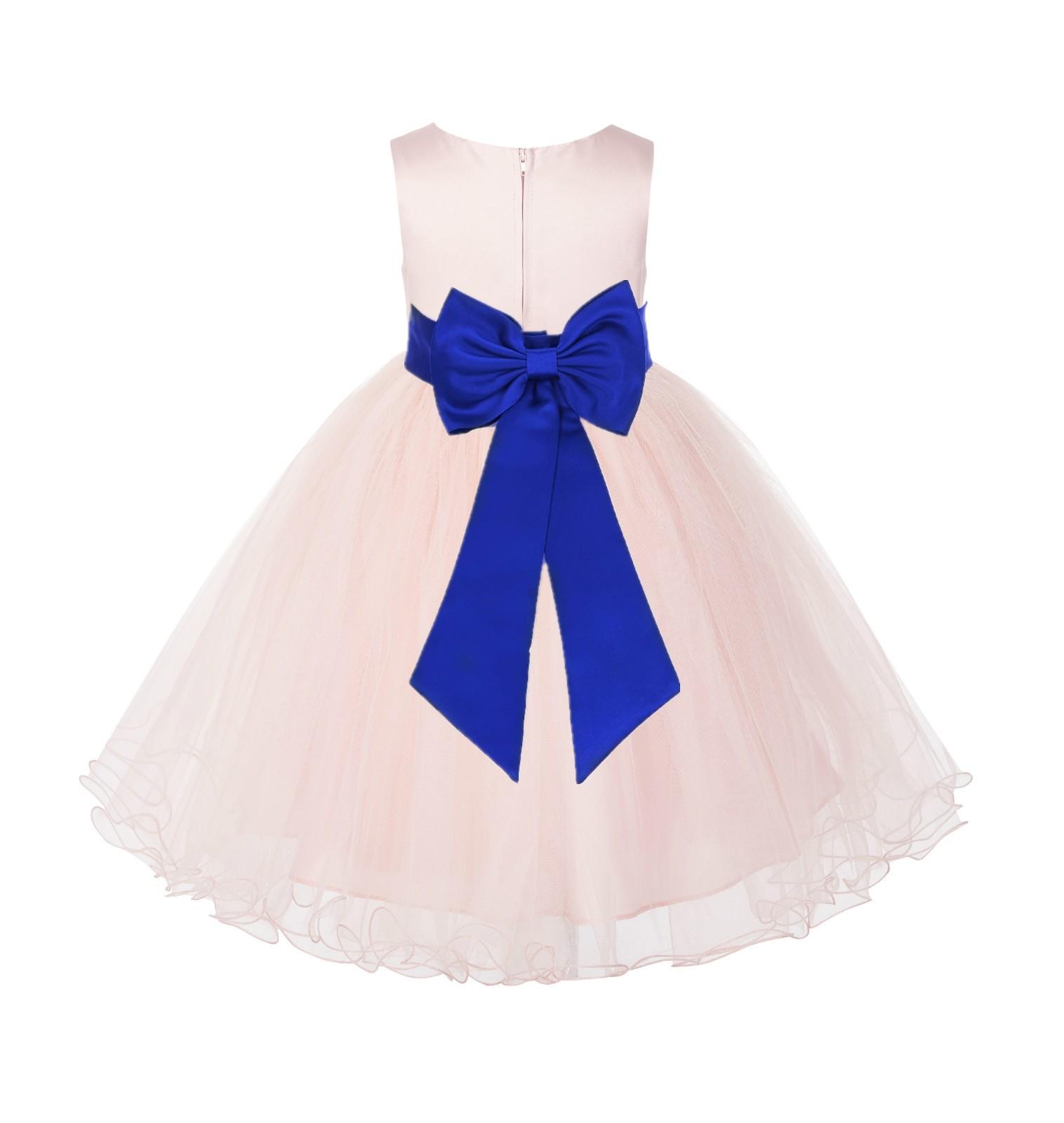 Blush PInk / Horizon Tulle Rattail Edge Flower Girl Dress Wedding Bridesmaid 829T