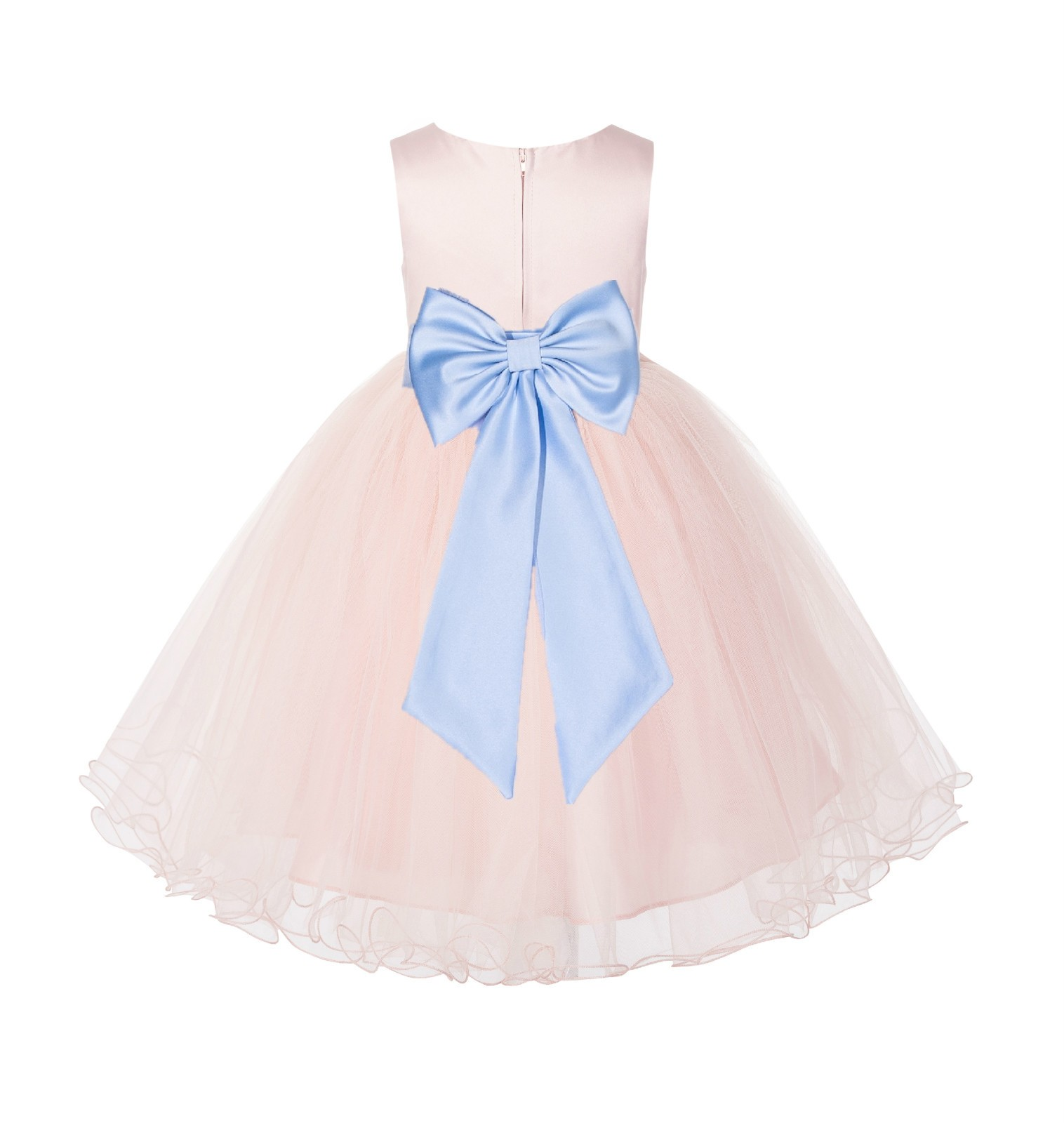 Blush PInk / Ice Blue Tulle Rattail Edge Flower Girl Dress Wedding Bridesmaid 829T