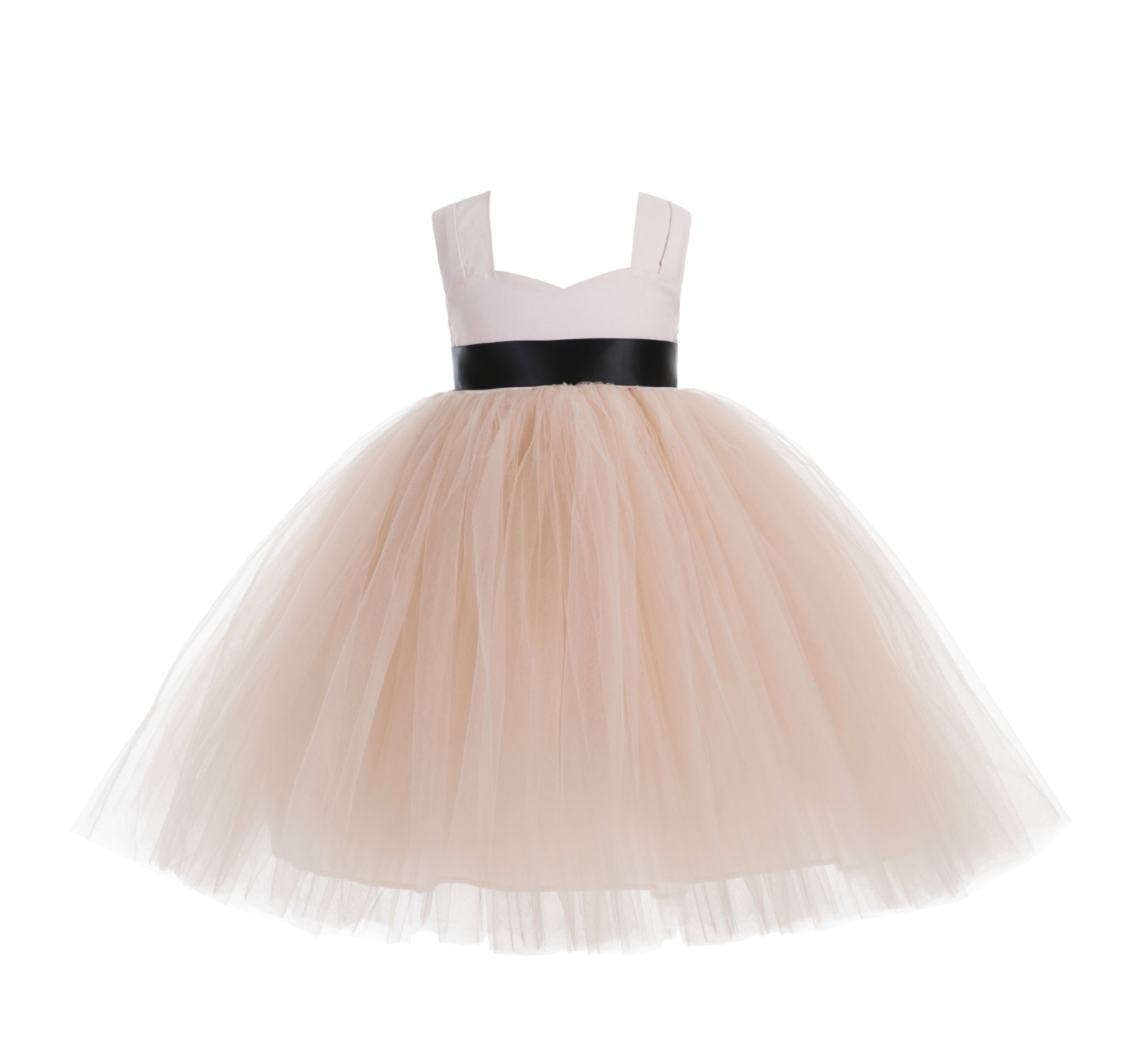 Blush Pink / Black Sweetheart Neck Cotton Top Tutu Flower Girl Dress 171