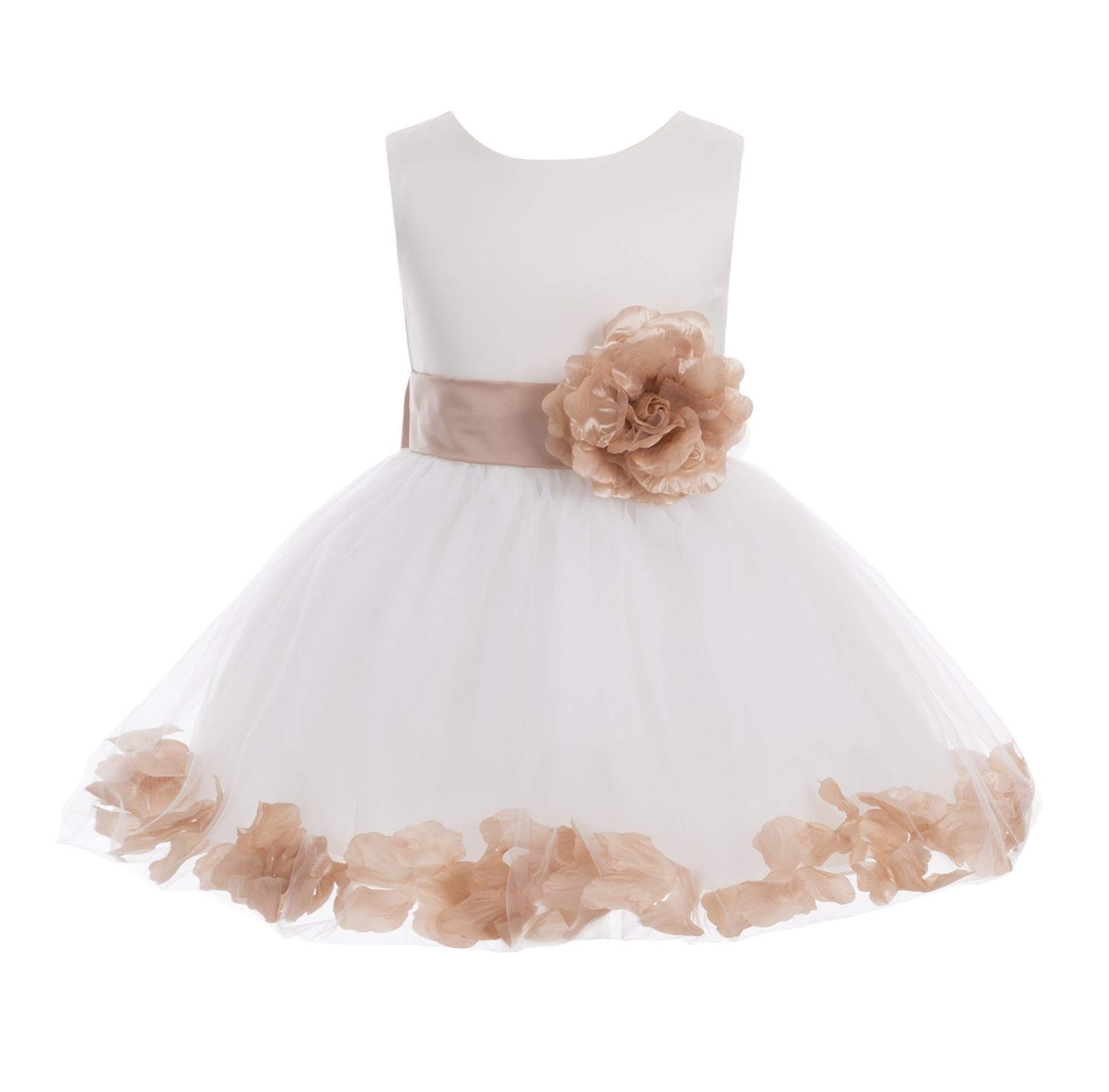 Ivory/ Rose Gold  Rose Petals Tulle Flower Girl Dress Pageant 305T
