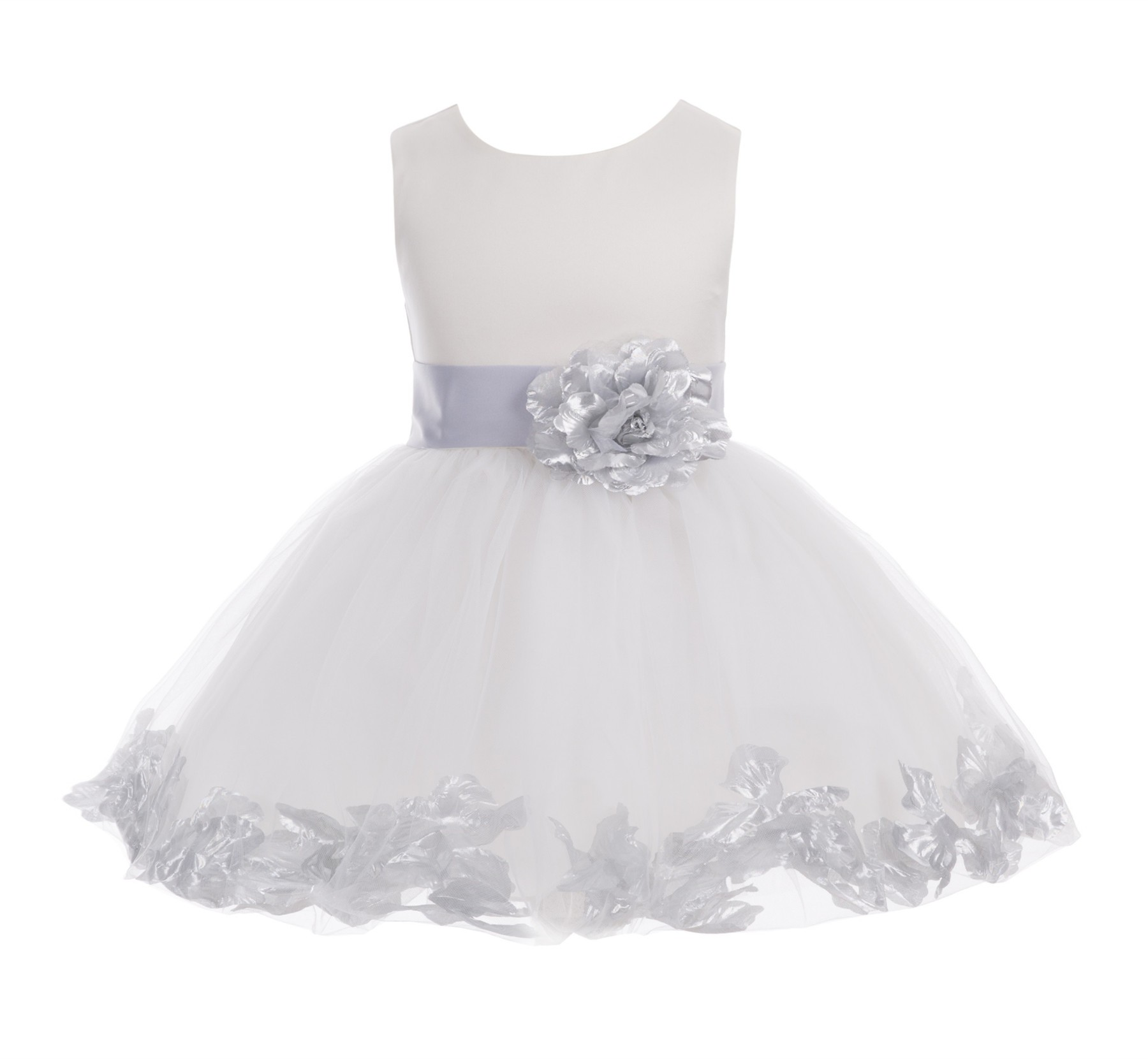 Ivory/ Silver Rose Petals Tulle Flower Girl Dress Pageant 305T