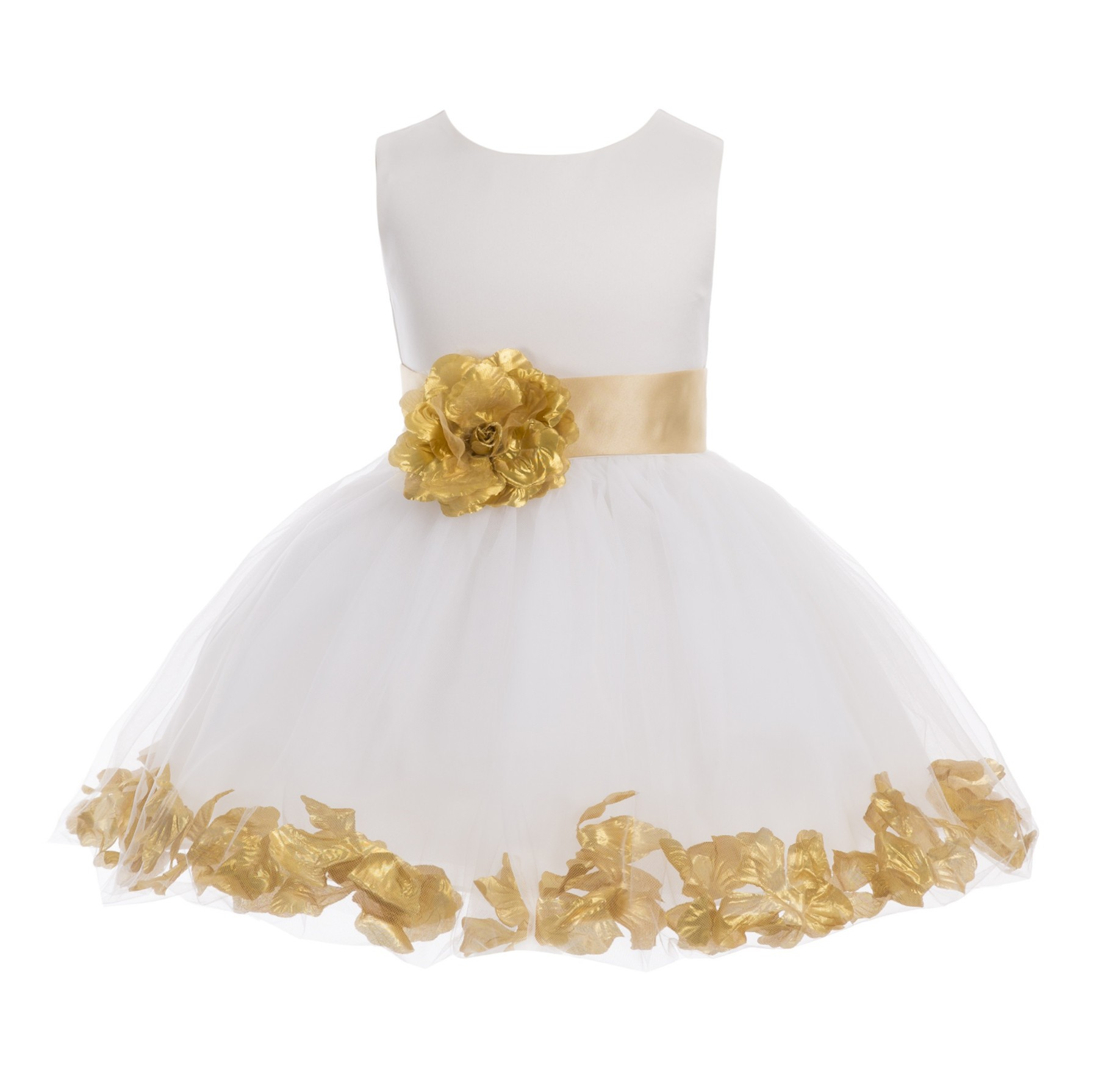 Ivory/Gold Pink Rose Petals Tulle Flower Girl Dress Pageant 305T