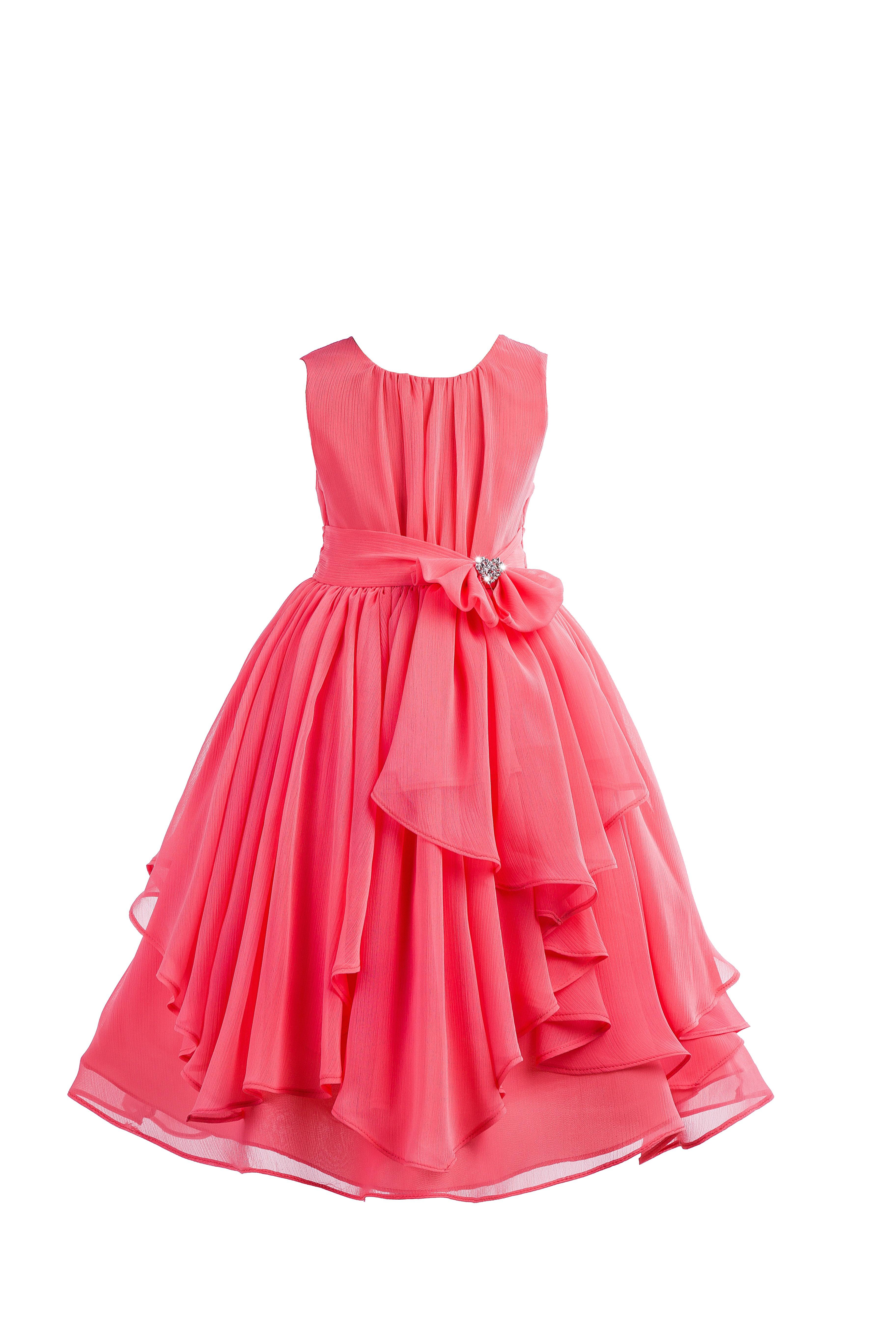 Coral Yoryu Chiffon Ruched Bodice Rhinestone Flower Girl Dress 162S