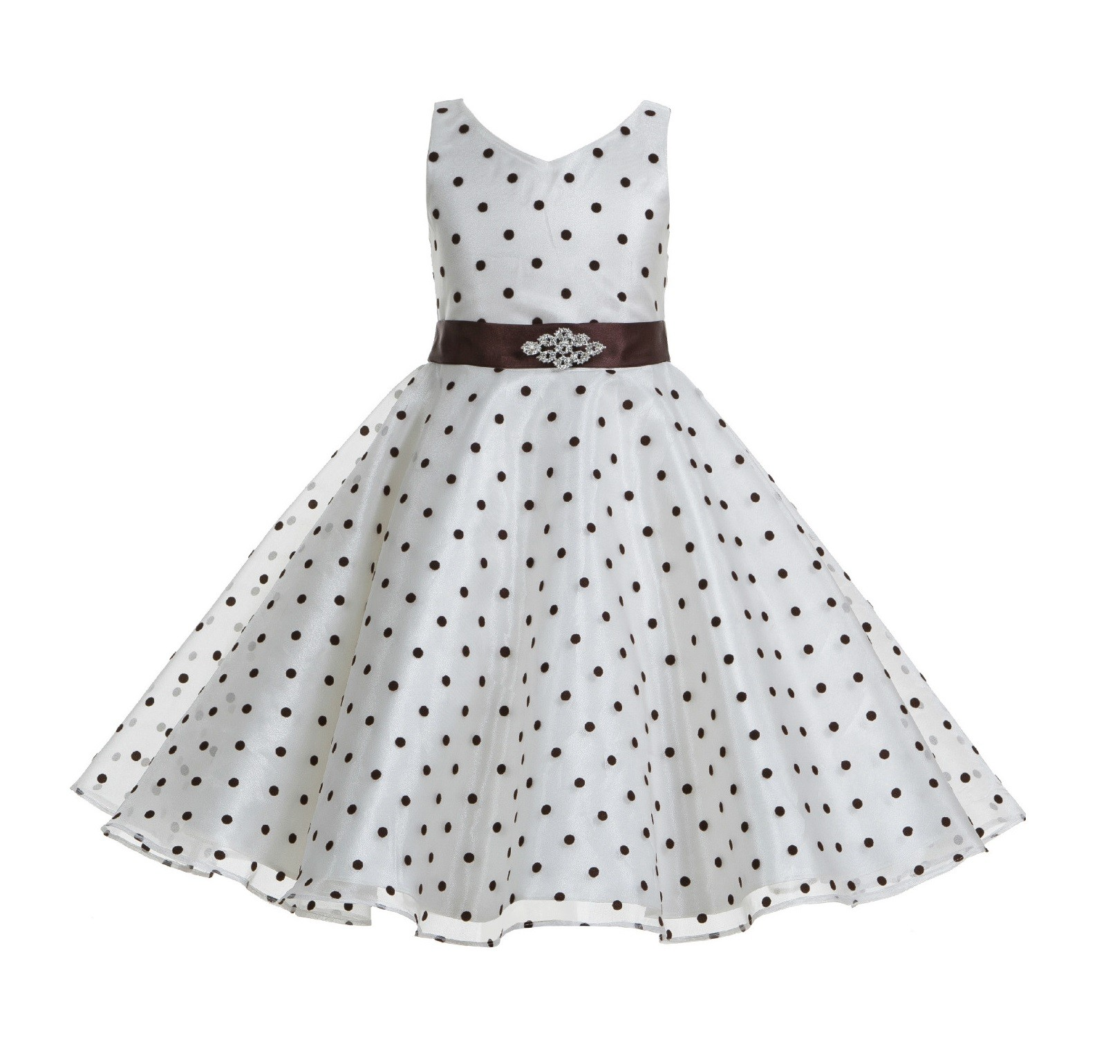 Ivory Brown Organza Polka Dot V Neck Rhinestone Flower Girl Dress