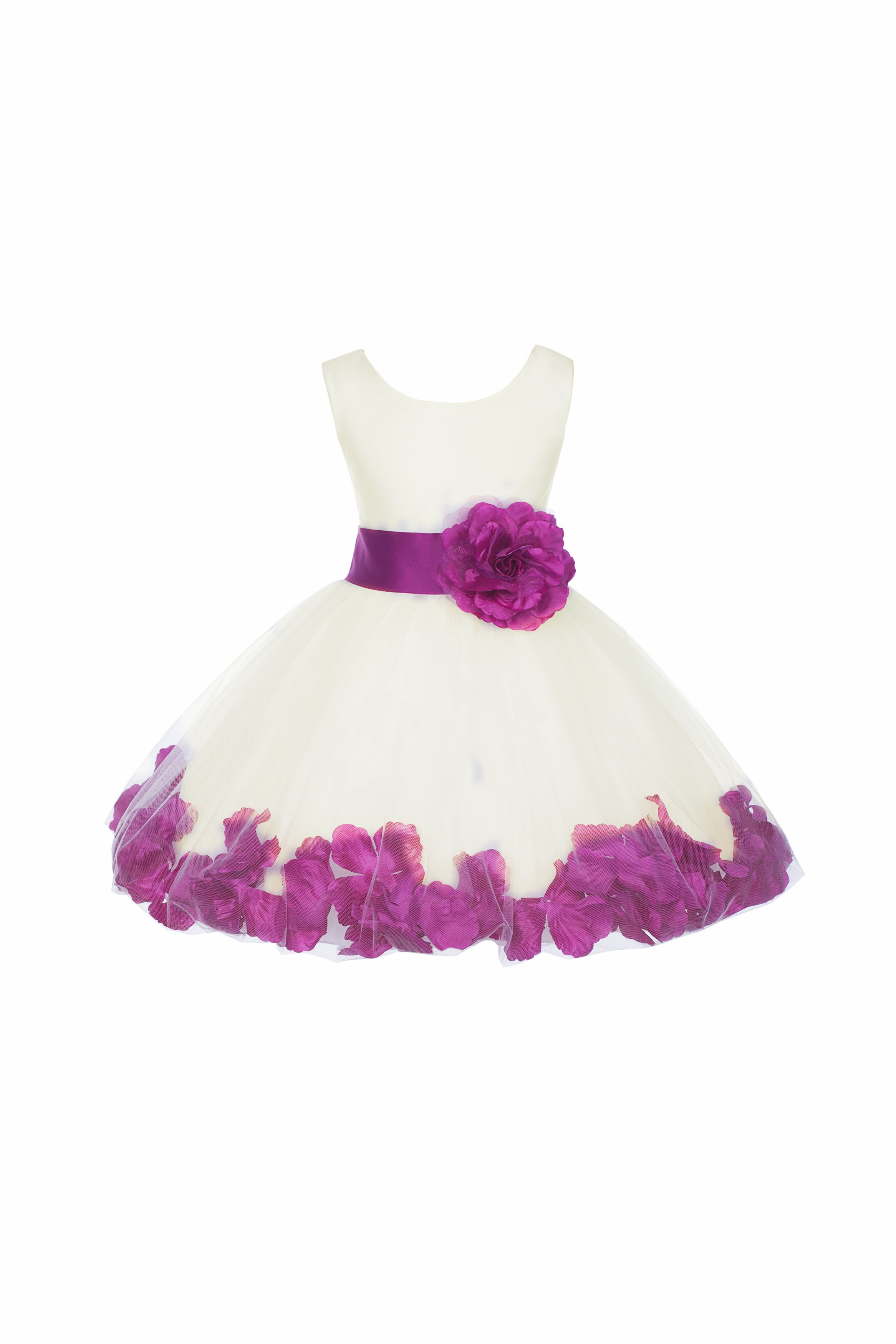Ivory/Raspberry Rose Petals Tulle Flower Girl Dress Pageant 305T