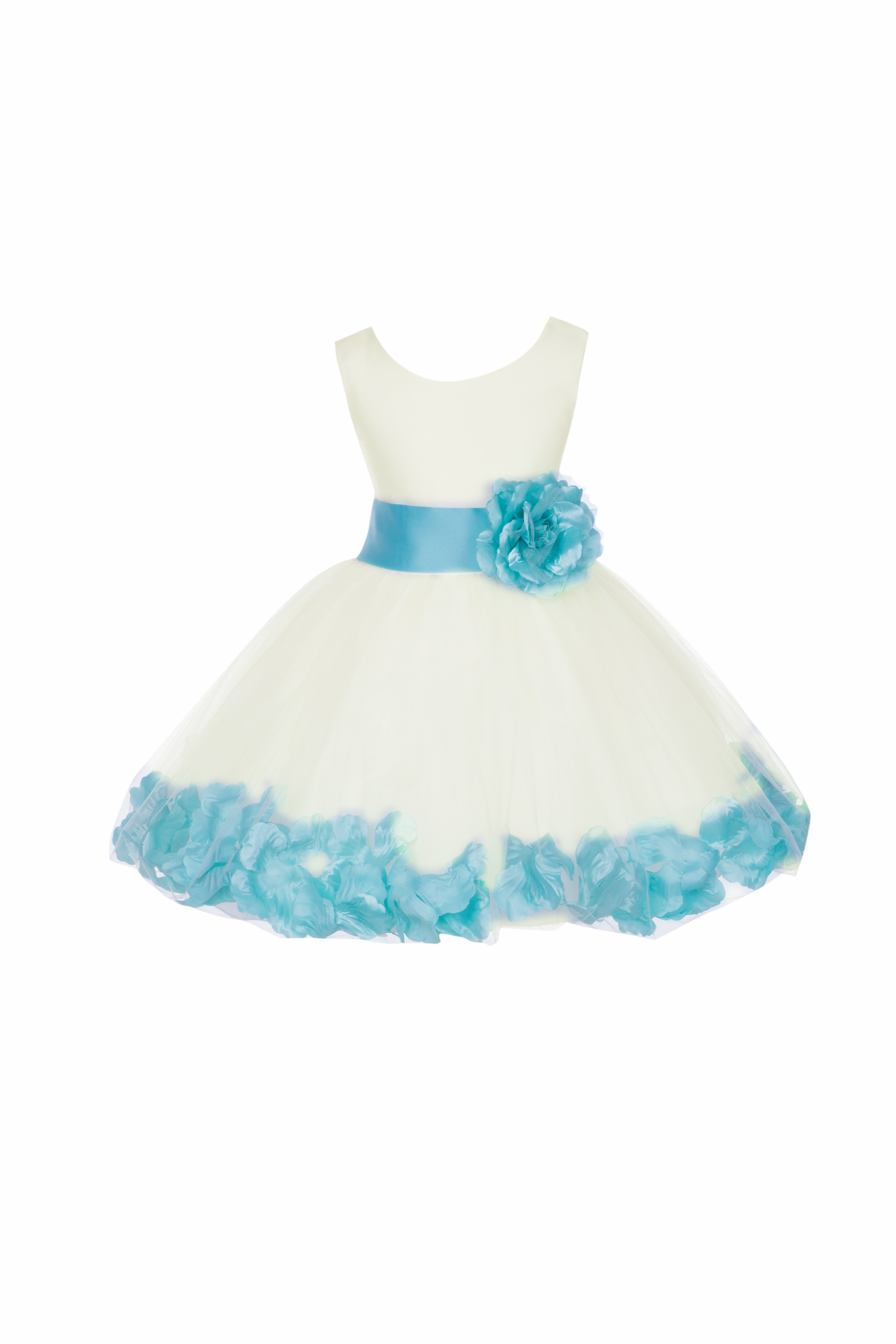 Ivory/Spa Rose Petals Tulle Flower Girl Dress Pageant 305T