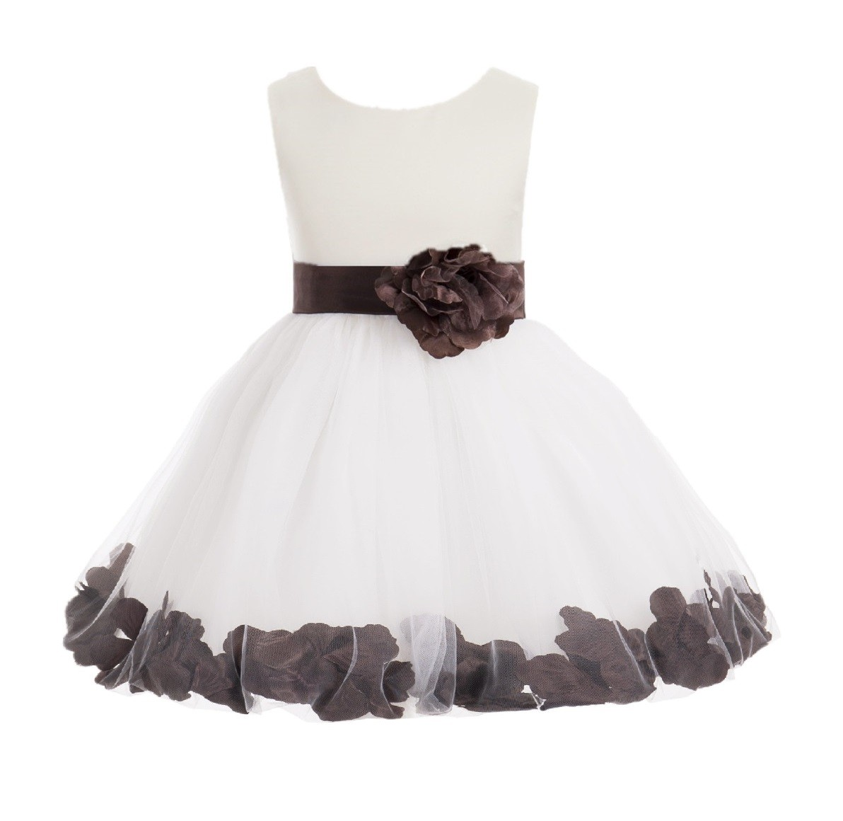 Ivory/ Brown Rose Petals Tulle Flower Girl Dress Pageant 305T