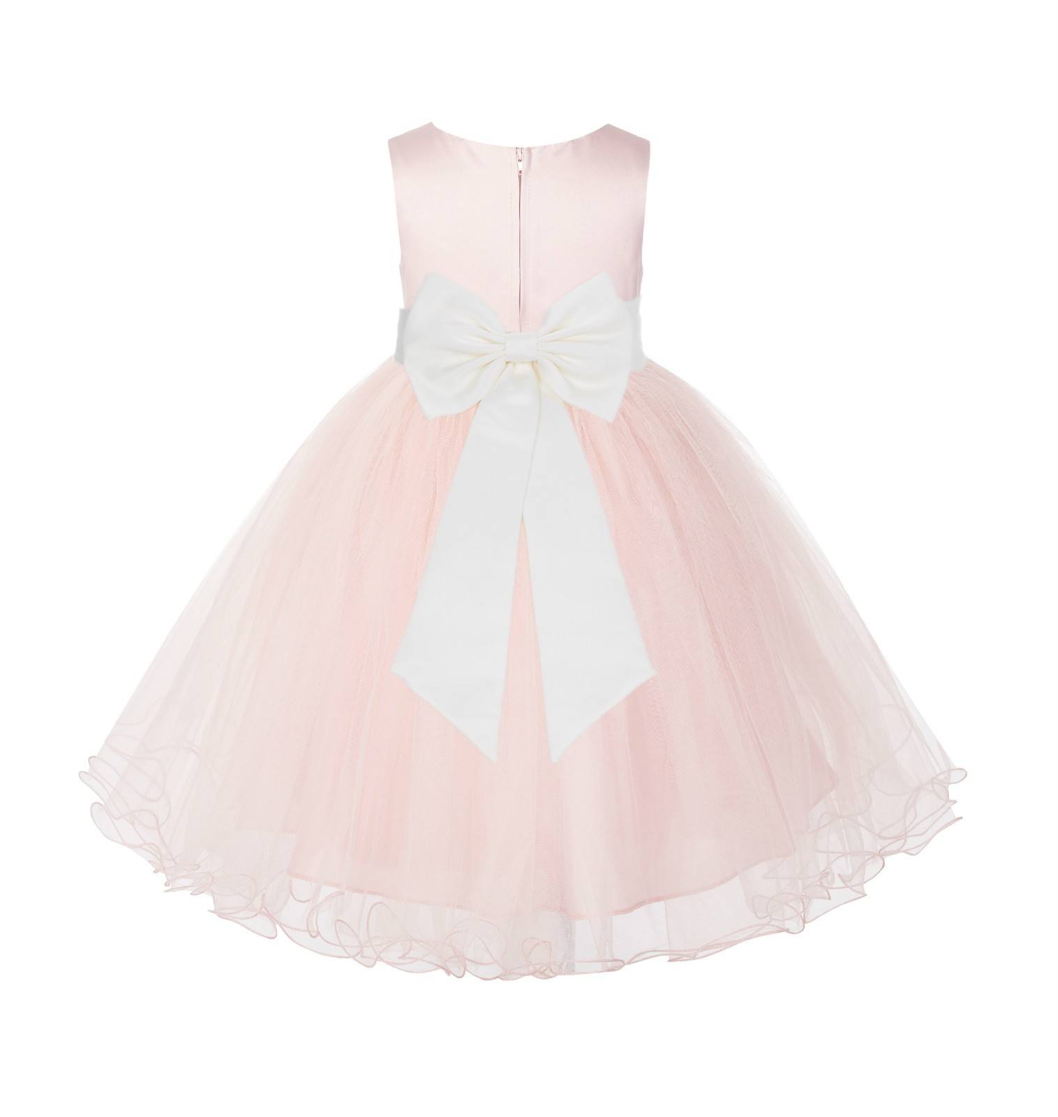Blush PInk / Ivory Tulle Rattail Edge Flower Girl Dress Wedding Bridesmaid 829T
