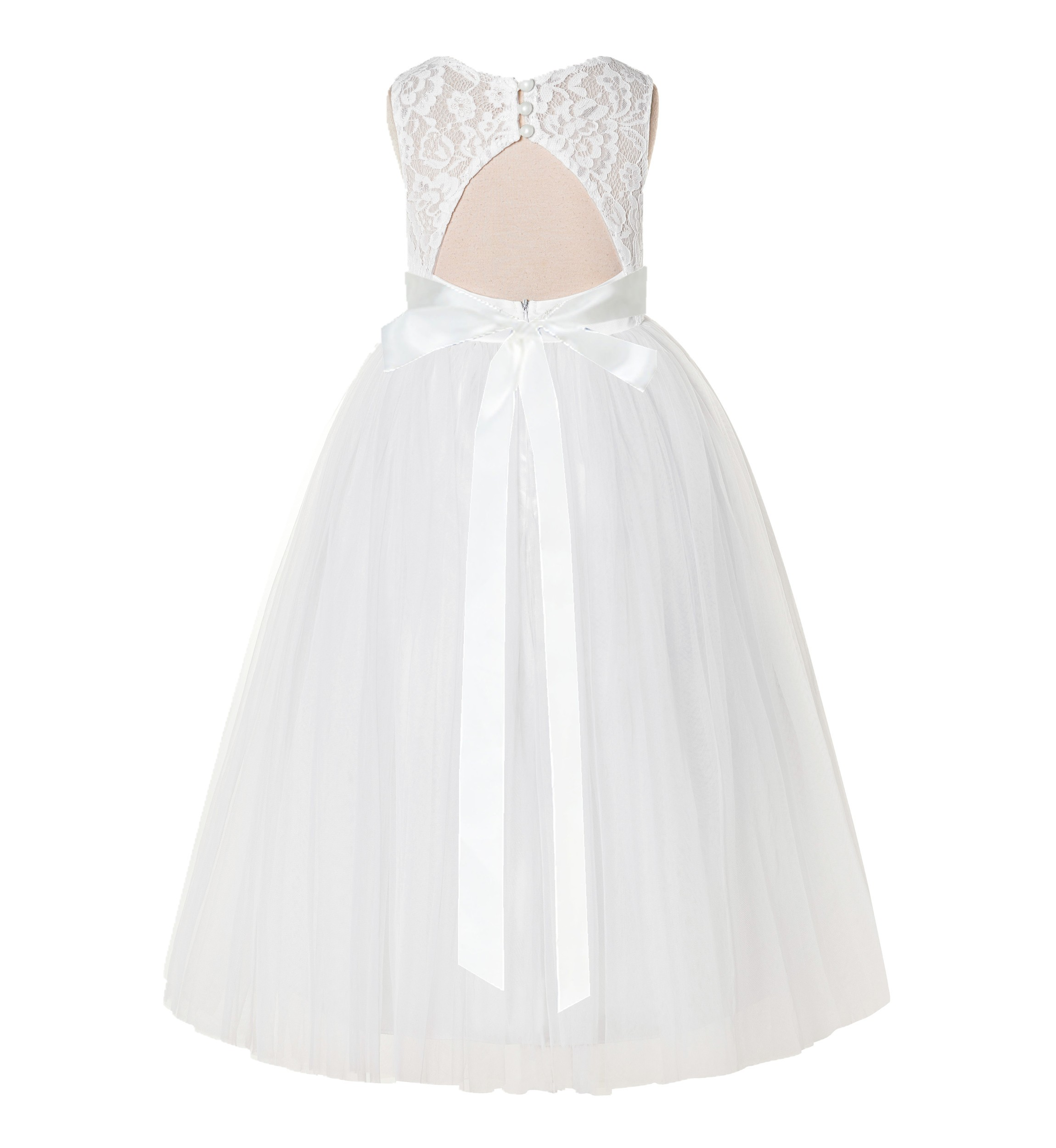 Ivory A-Line Lace Flower Girl Dress 178R3