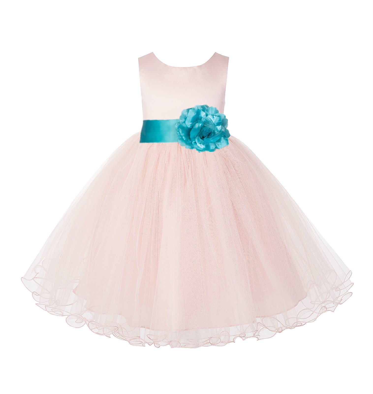Blush Pink /Tiffany Tulle Rattail Edge Flower Girl Dress Pageant Recital 829S