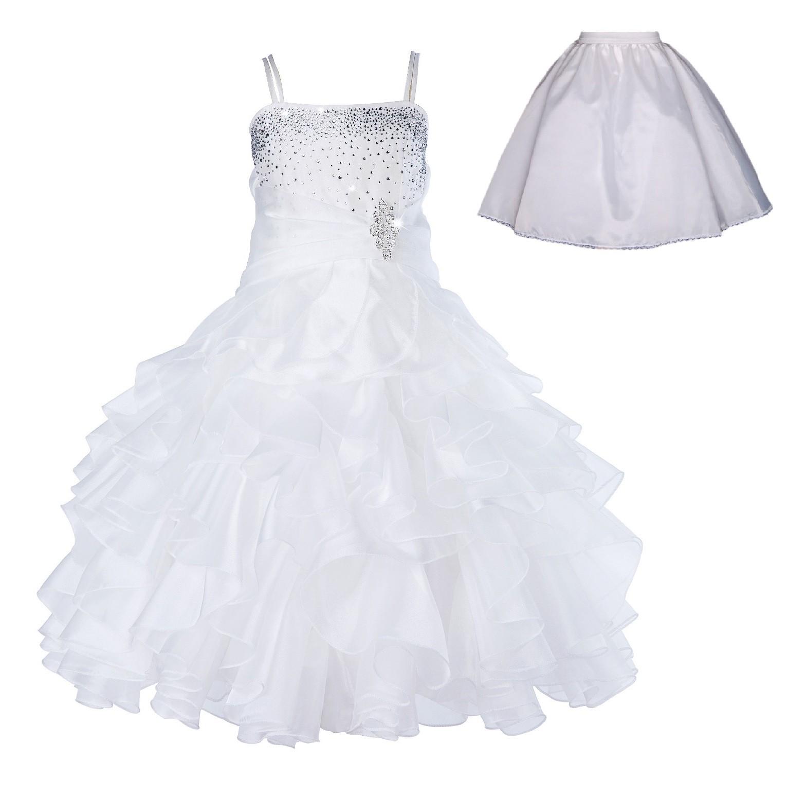Ivory Rhinestone Organza Layers Flower Girl Dress Elegant Stunning 164S
