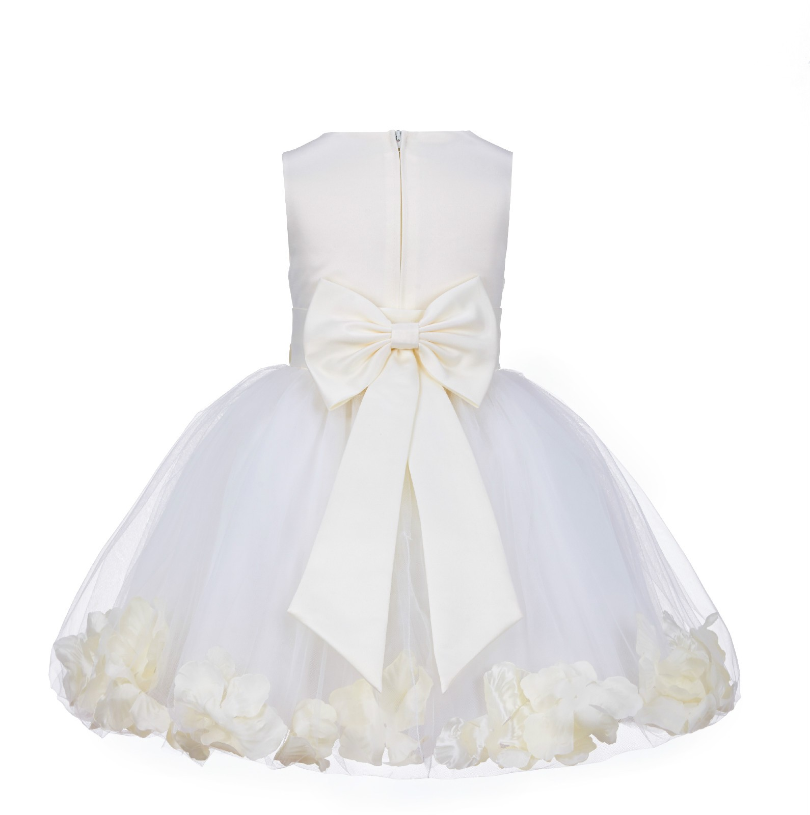 Ivory Rose Petals Tulle Flower Girl Dress Pageant 305T